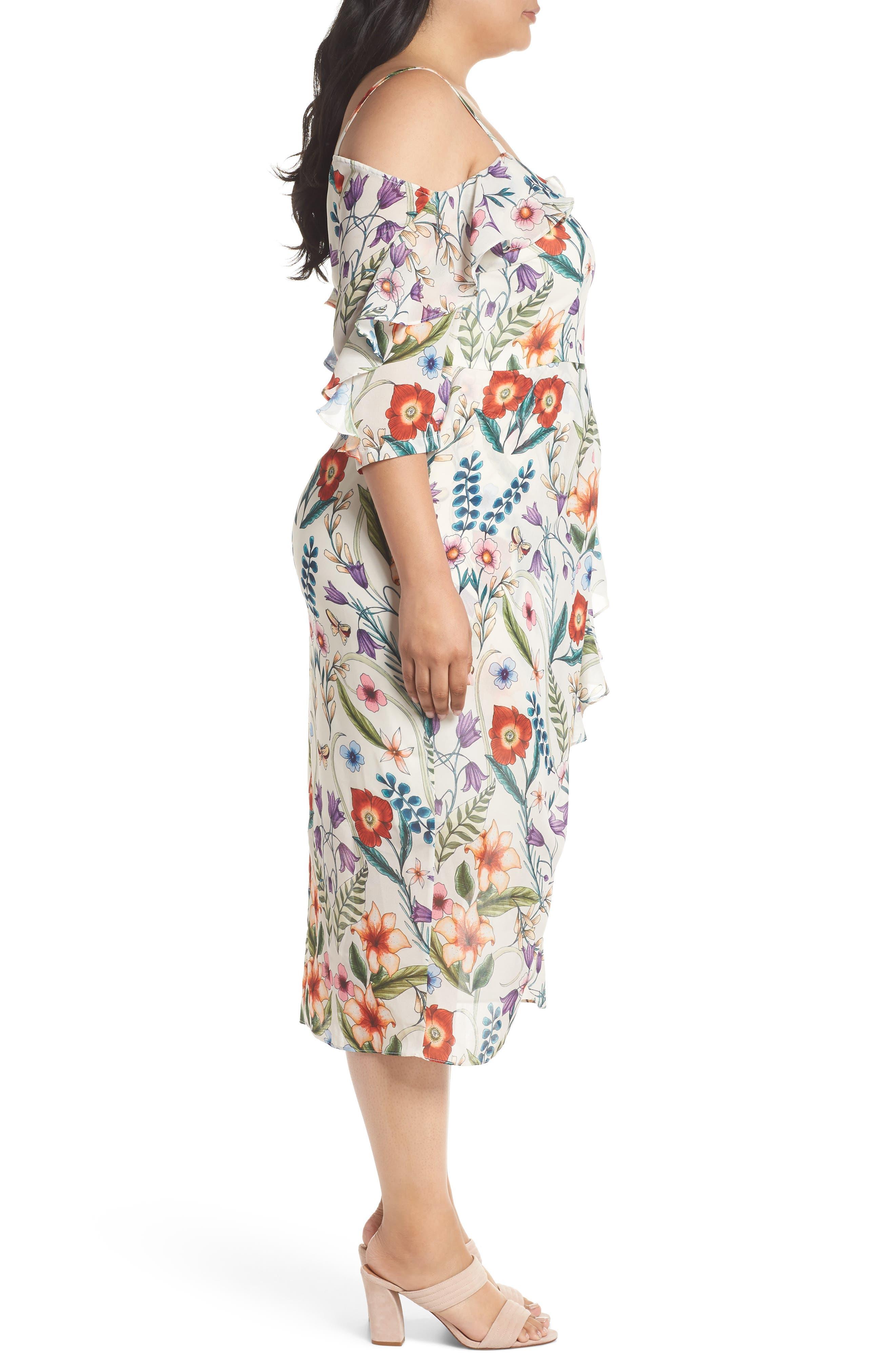 Gardenia Vintage Asymmetrical Dress,                             Alternate thumbnail 3, color,                             100