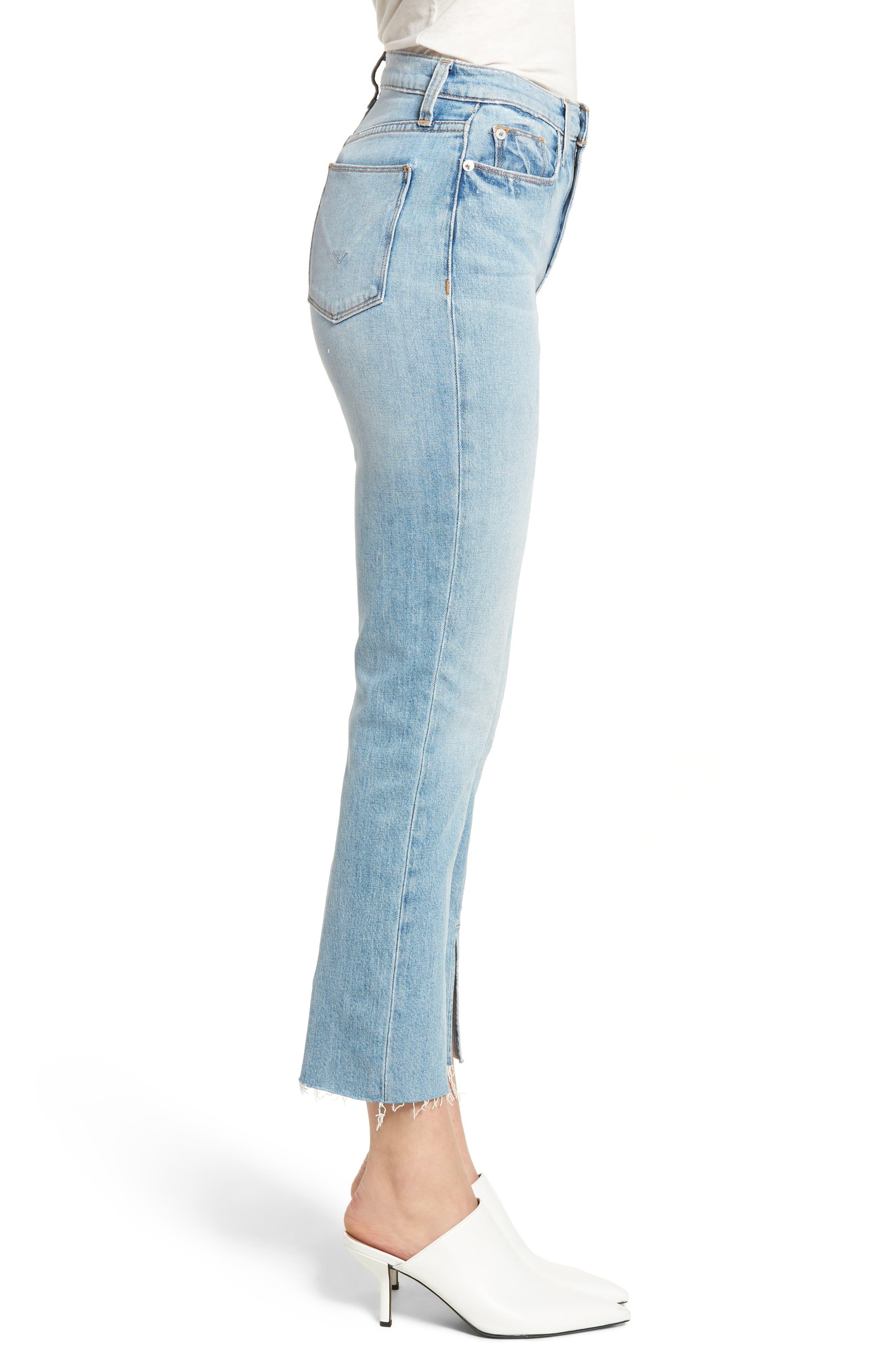 Zoeey Crop Split Hem Straight Leg Jeans,                             Alternate thumbnail 3, color,                             421