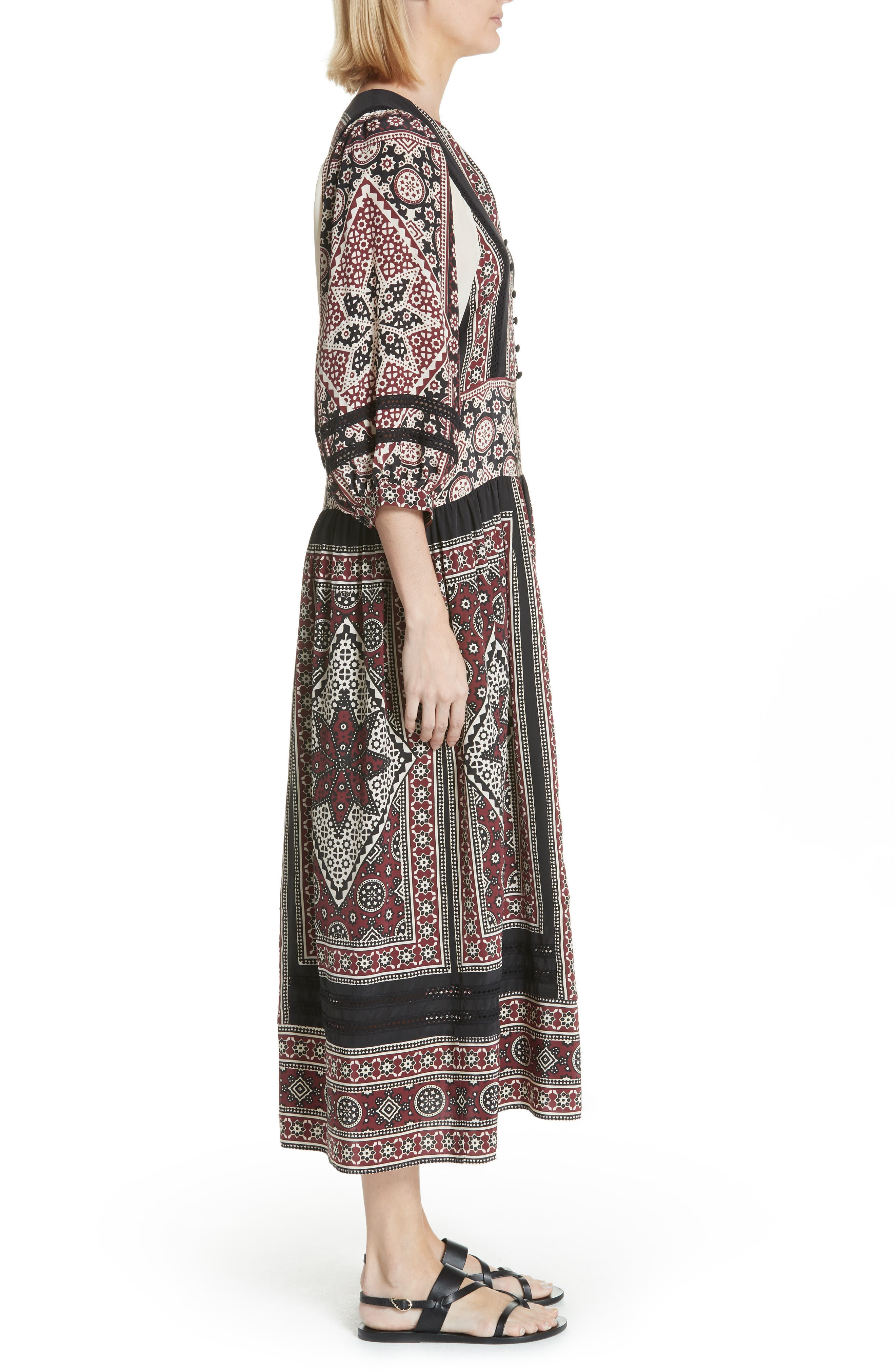Ezri Print Midi Dress,                             Alternate thumbnail 3, color,                             BRICK MULTI