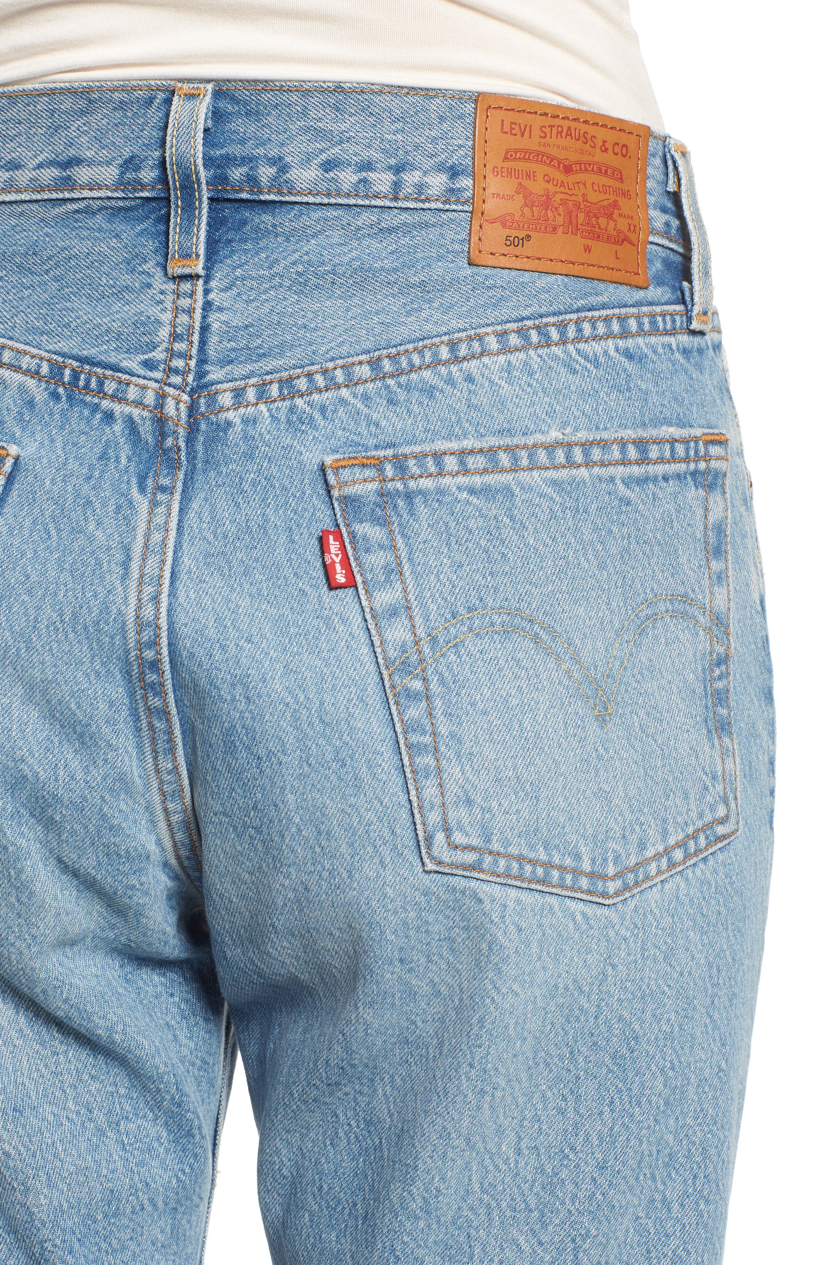501<sup>®</sup> Ripped High Waist Crop Jeans,                             Alternate thumbnail 4, color,                             420