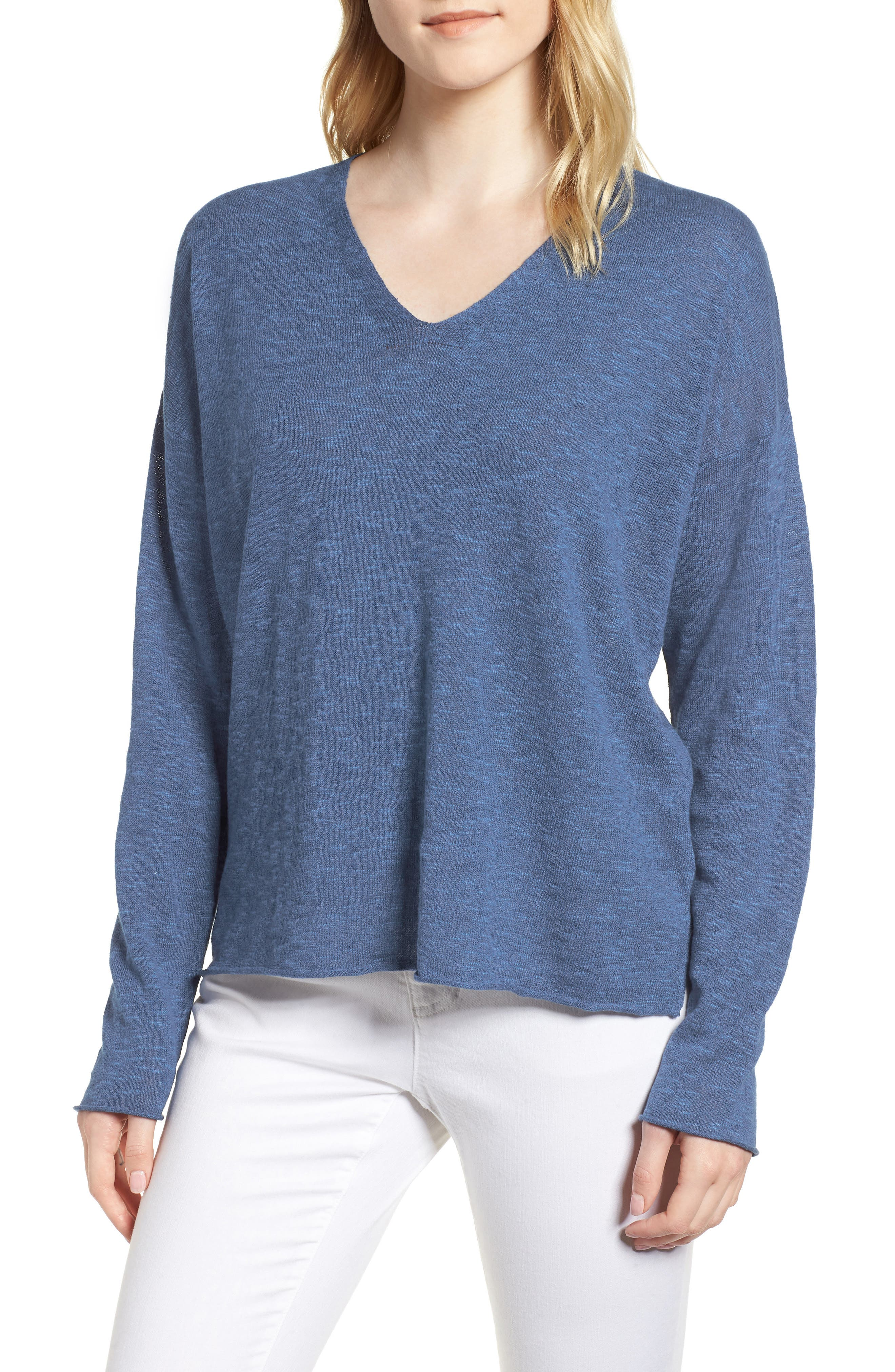 Boxy Organic Linen & Cotton Sweater,                             Main thumbnail 4, color,