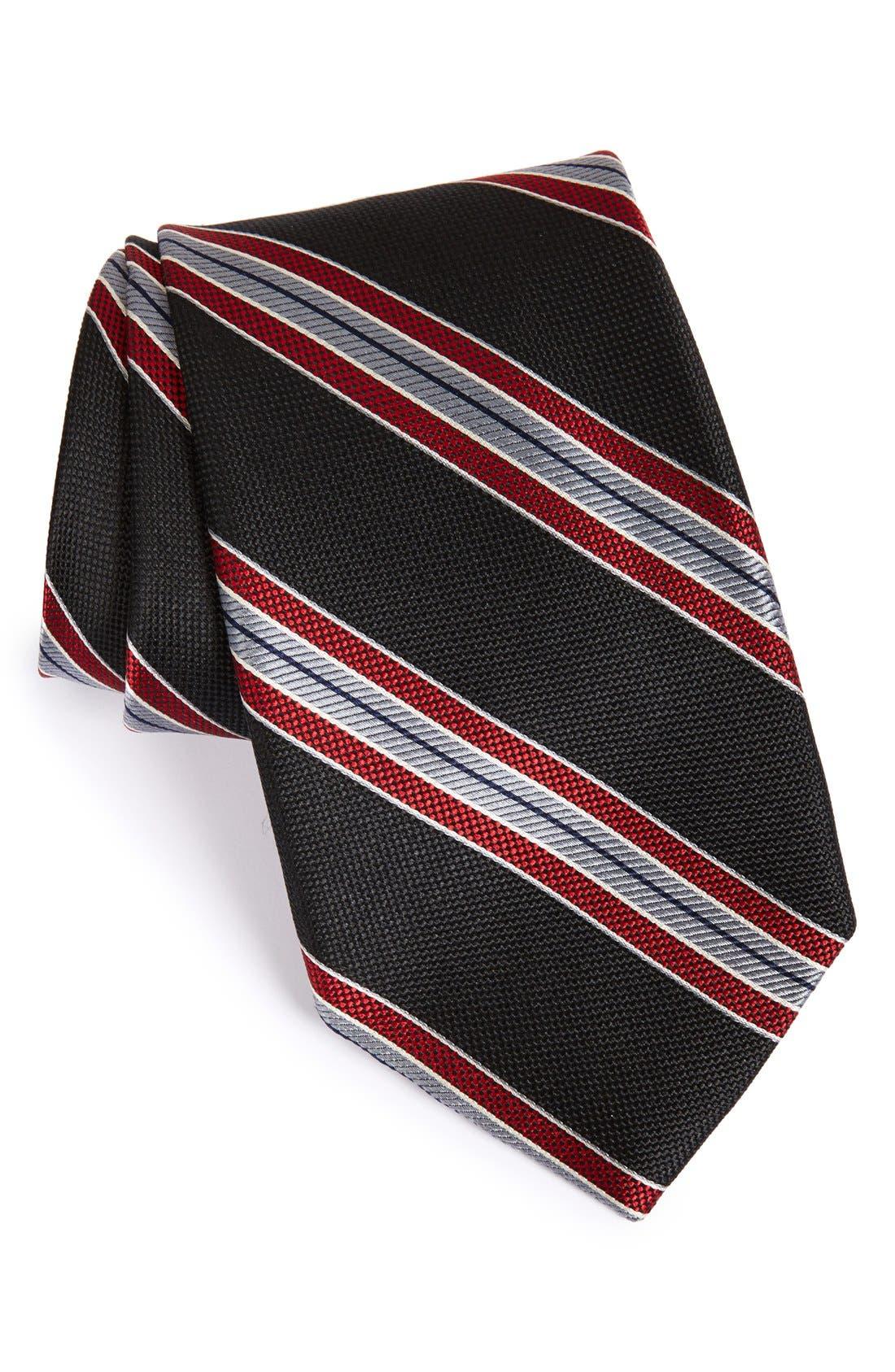 Men's Shop 'Downhill Skier' Stripe Silk Tie, Main, color, 001