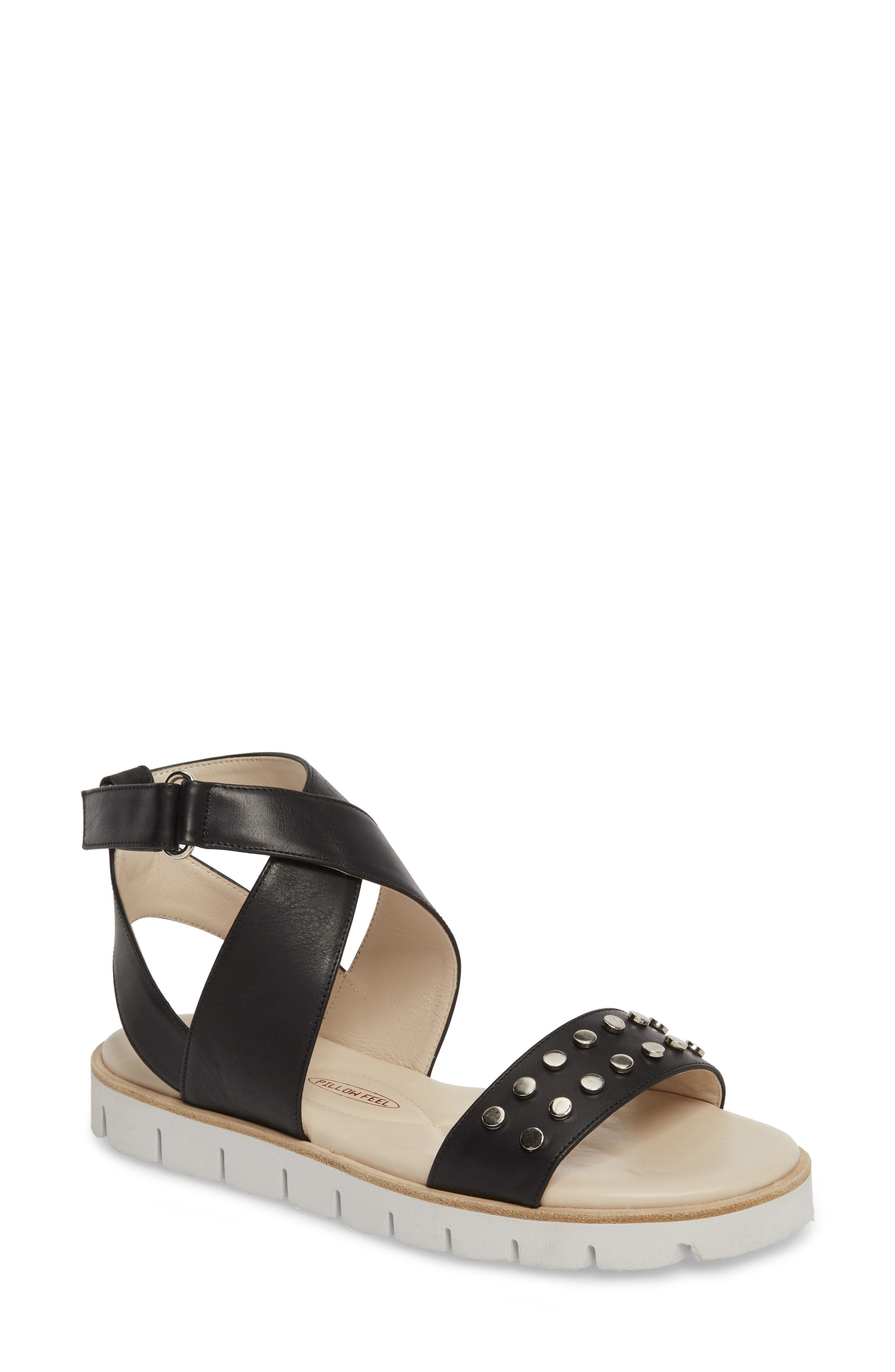 Barlume Sandal,                         Main,                         color, BLACK LEATHER