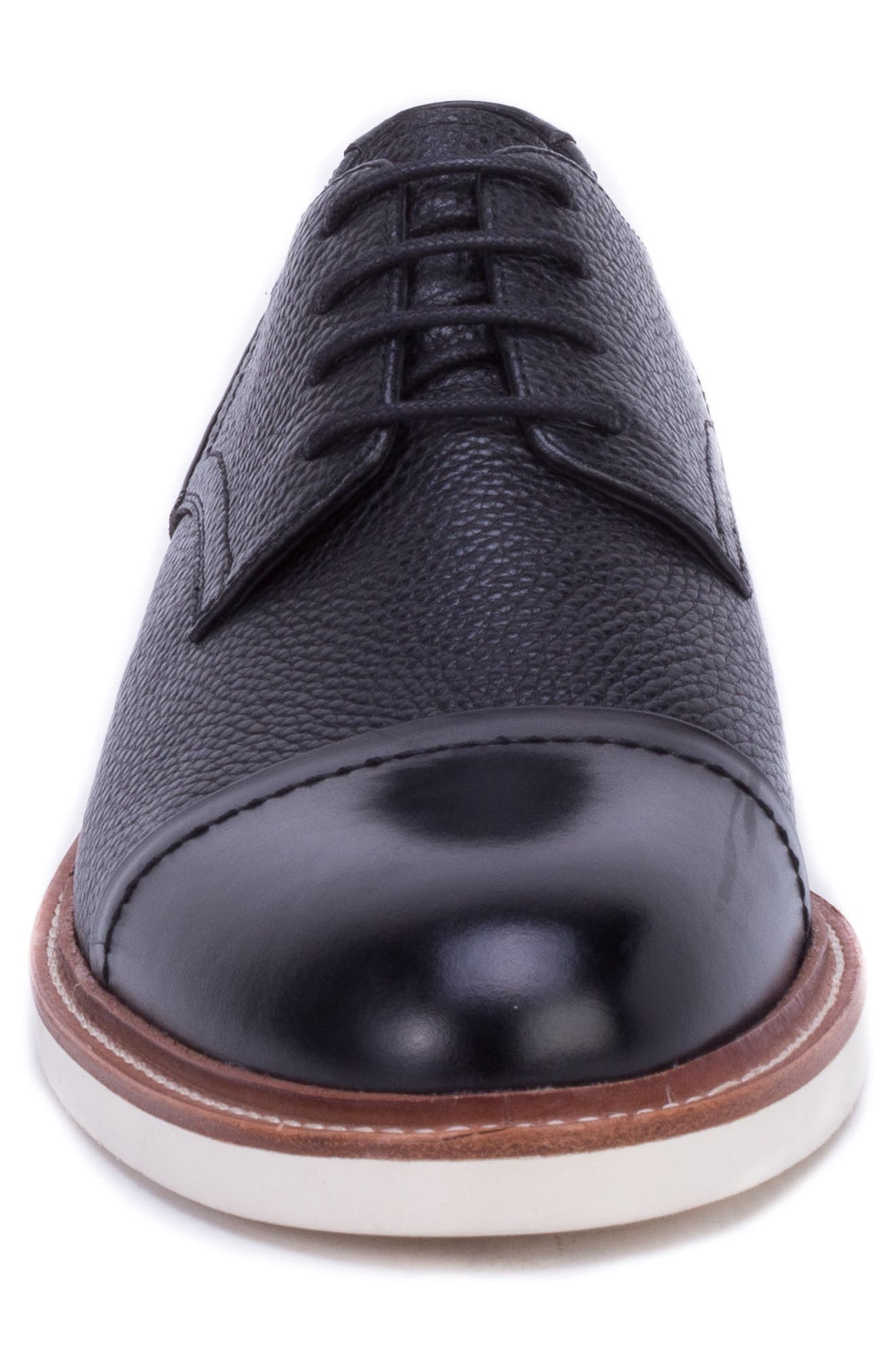 Wensley Cap Toe Derby,                             Alternate thumbnail 4, color,                             BLACK LEATHER