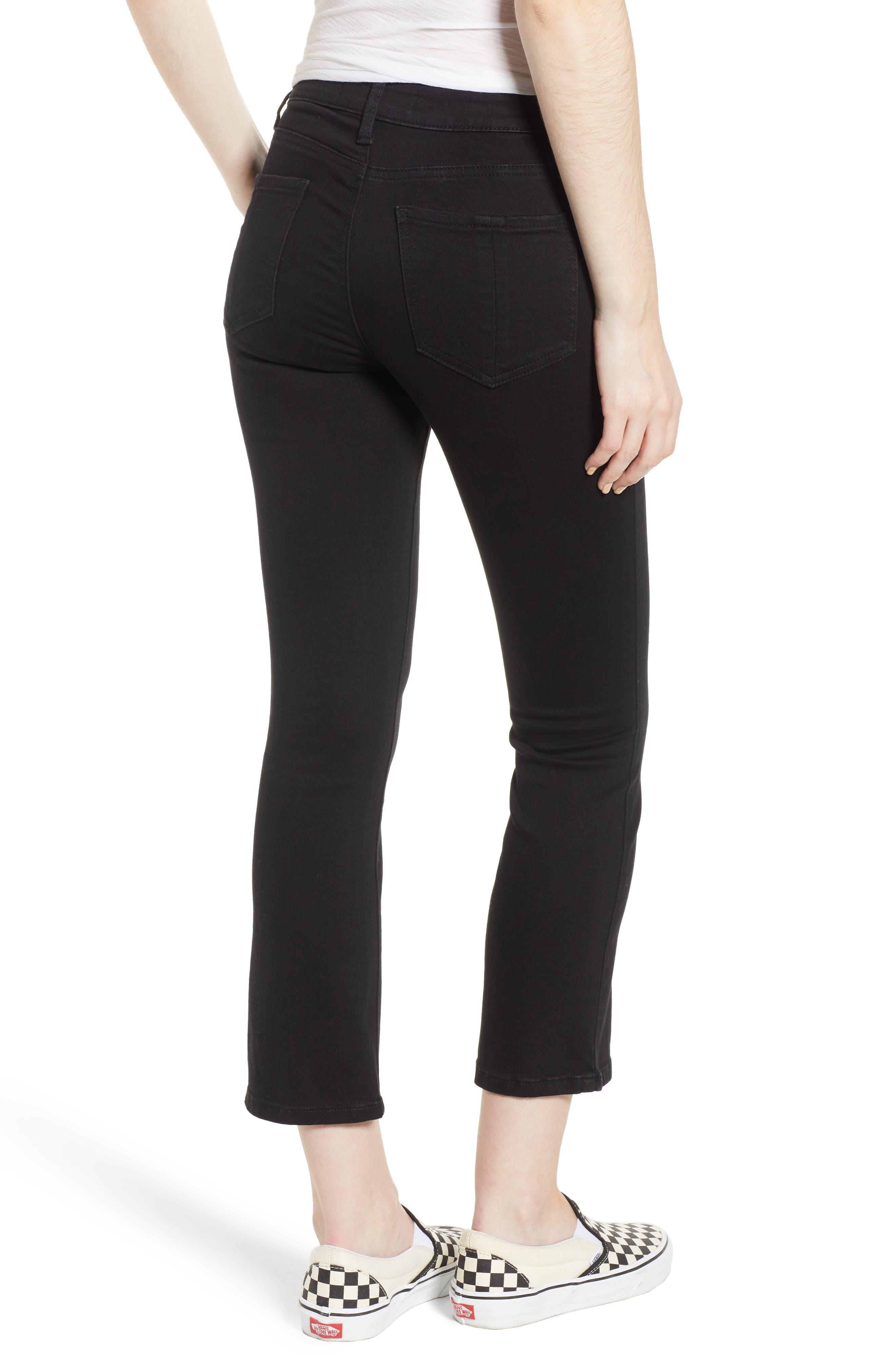 Crop Flare Jeans,                             Alternate thumbnail 2, color,                             BLACK