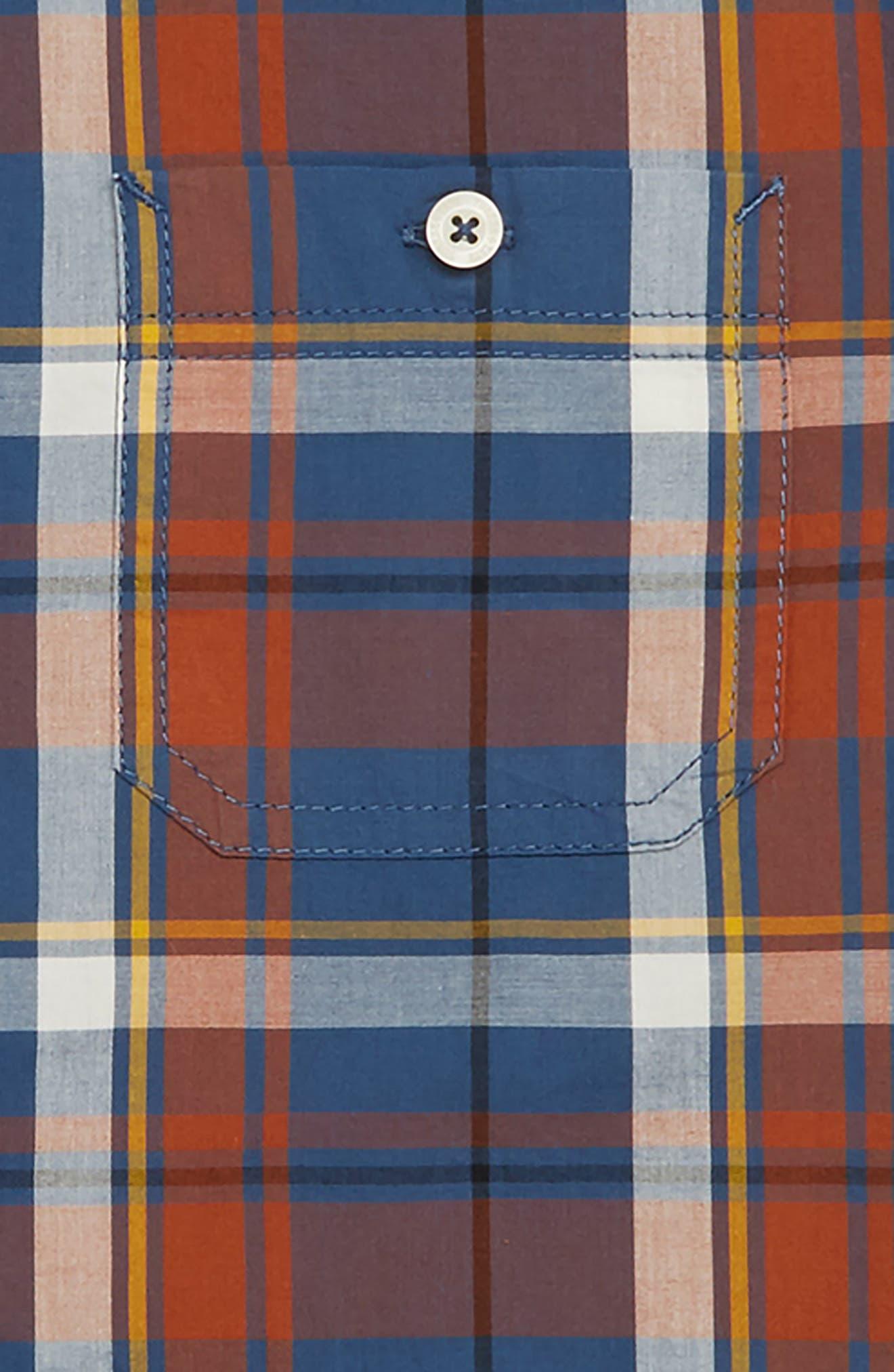 'Photo Op' Long Sleeve Cotton Woven Shirt,                             Alternate thumbnail 2, color,                             NAVY DENIM MADRAS PLAID