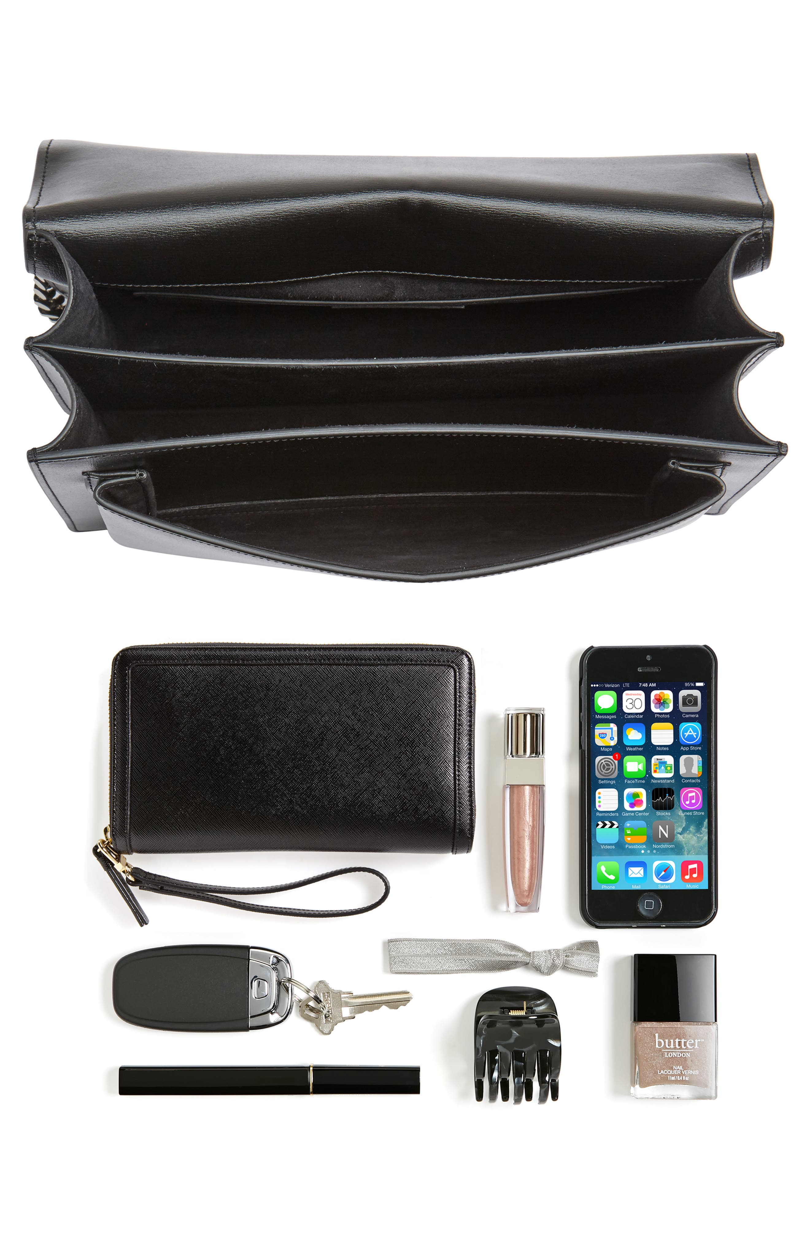 Medium Sunset Leather Shoulder Bag,                             Alternate thumbnail 7, color,                             NOIR