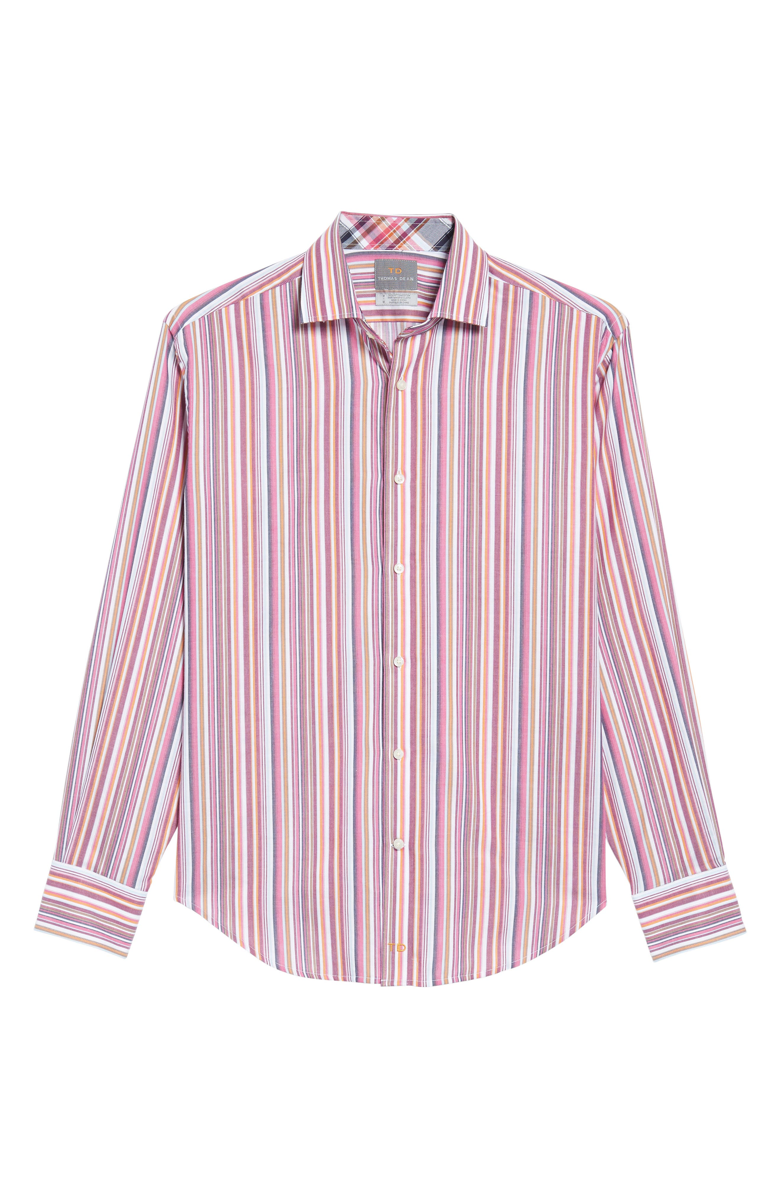 Regular Fit Stripe Sport Shirt,                             Alternate thumbnail 6, color,