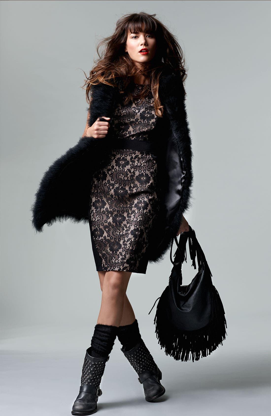 Lace Inset Crepe Sheath Dress,                             Alternate thumbnail 4, color,                             001