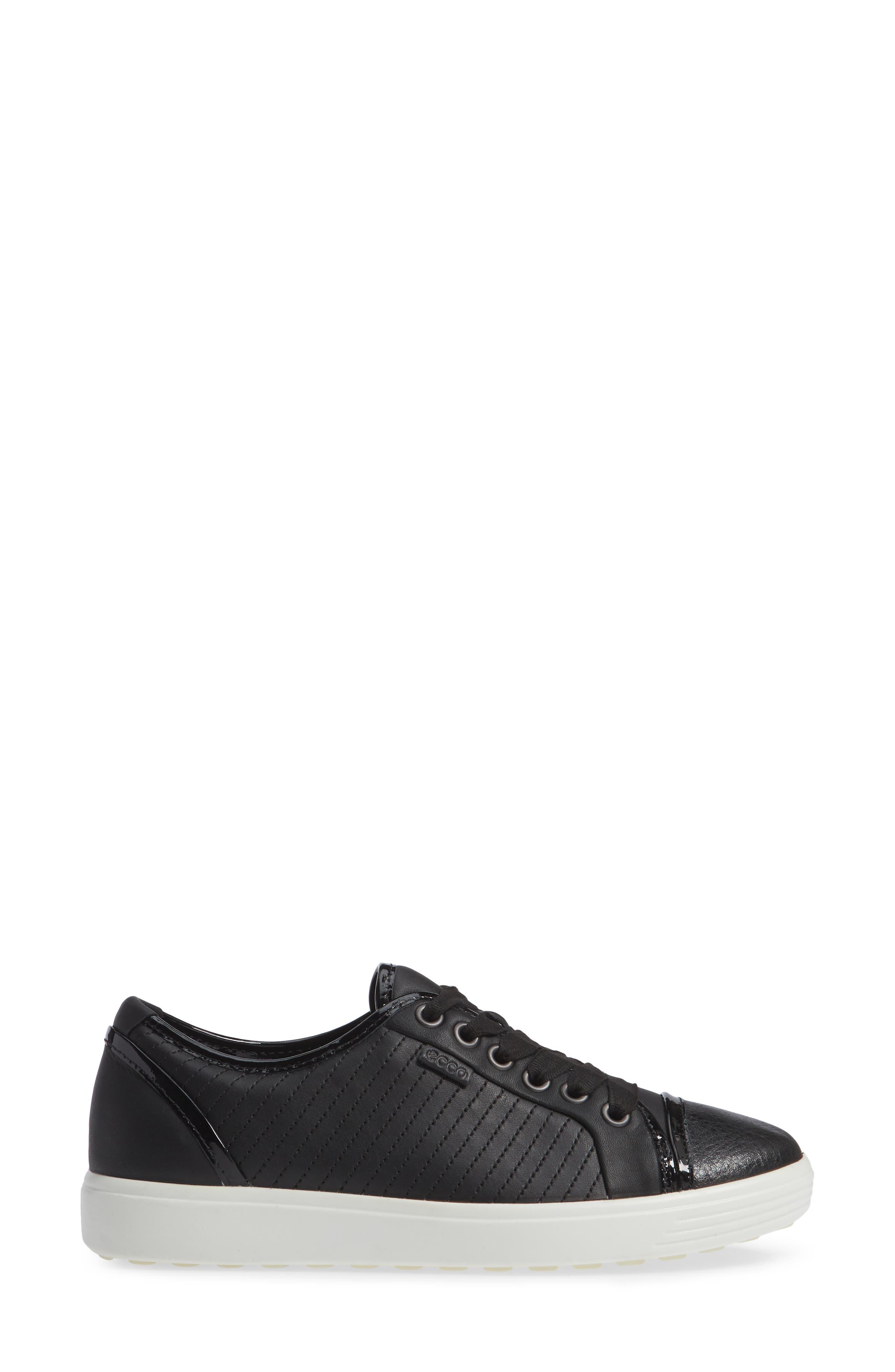 Soft 7 Cap Toe Sneaker,                             Alternate thumbnail 3, color,                             BLACK LEATHER