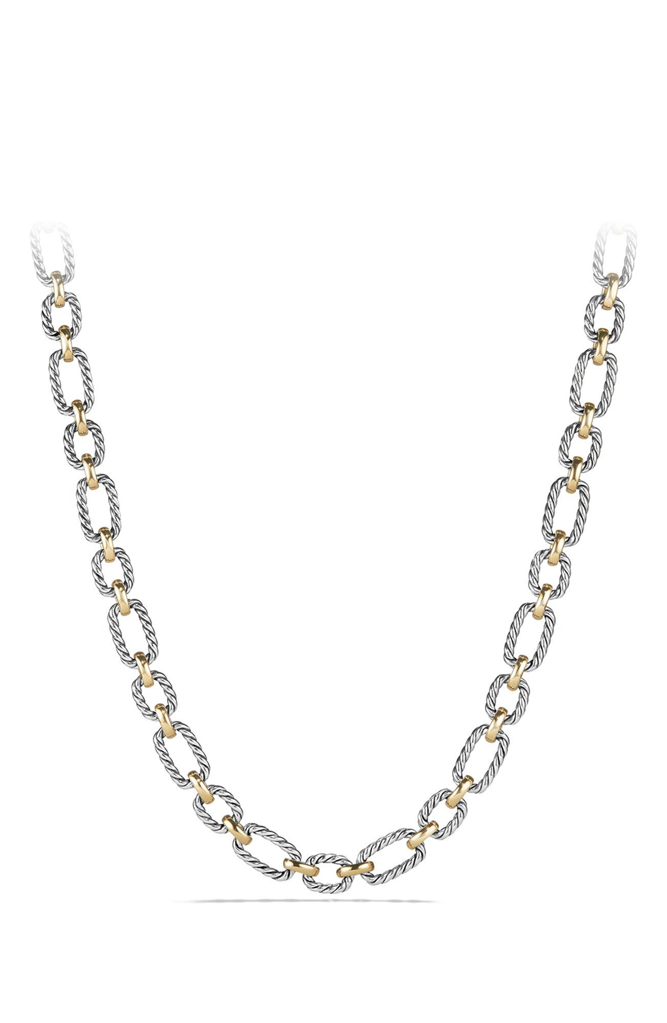 'Chain' Cushion Link Necklace with Sapphires & 18K Gold,                             Main thumbnail 1, color,                             SILVER/ GOLD/ BLUE SAPPHIRE
