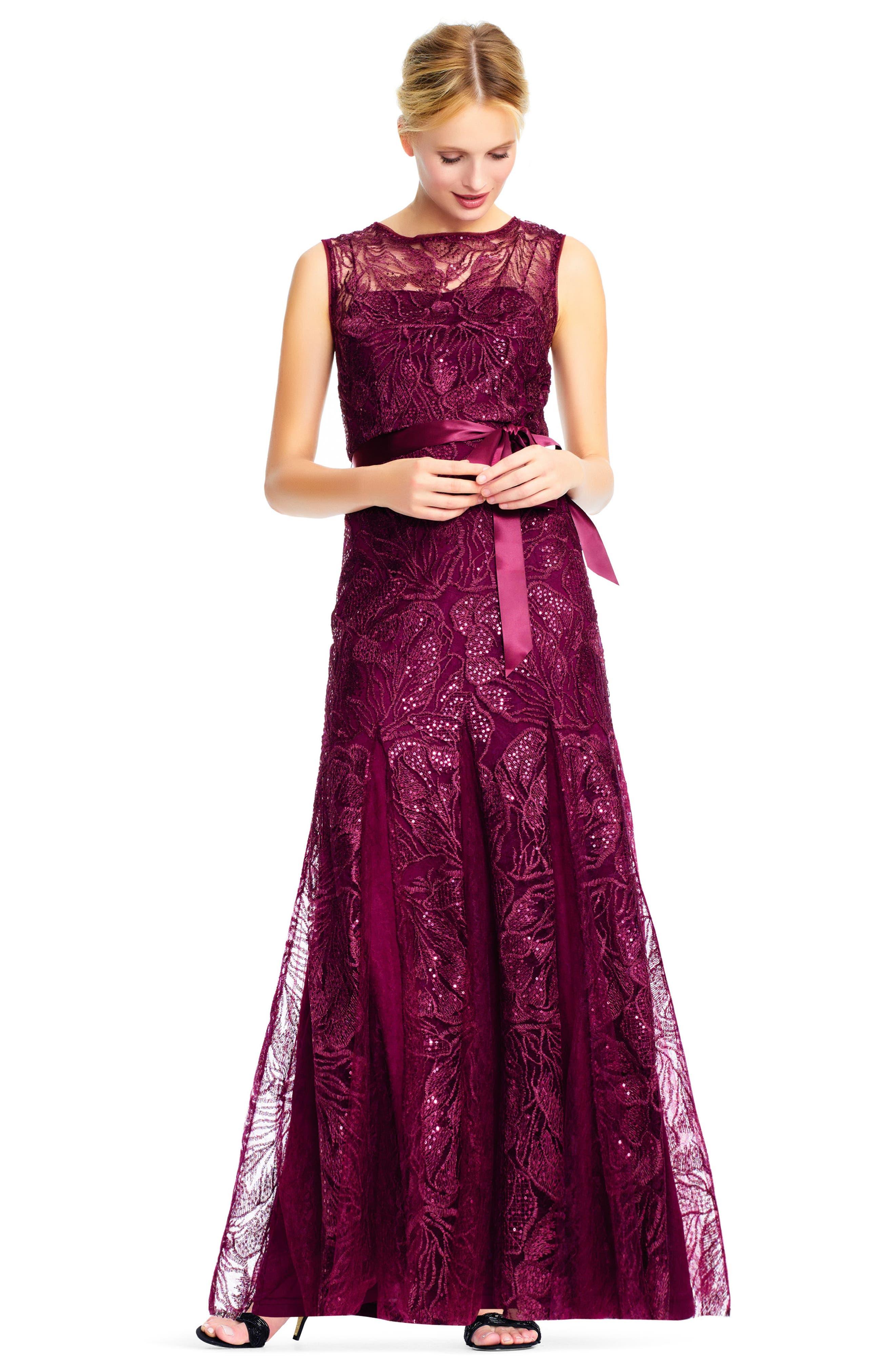 Tie Waist Sequin Lace Gown,                             Alternate thumbnail 6, color,