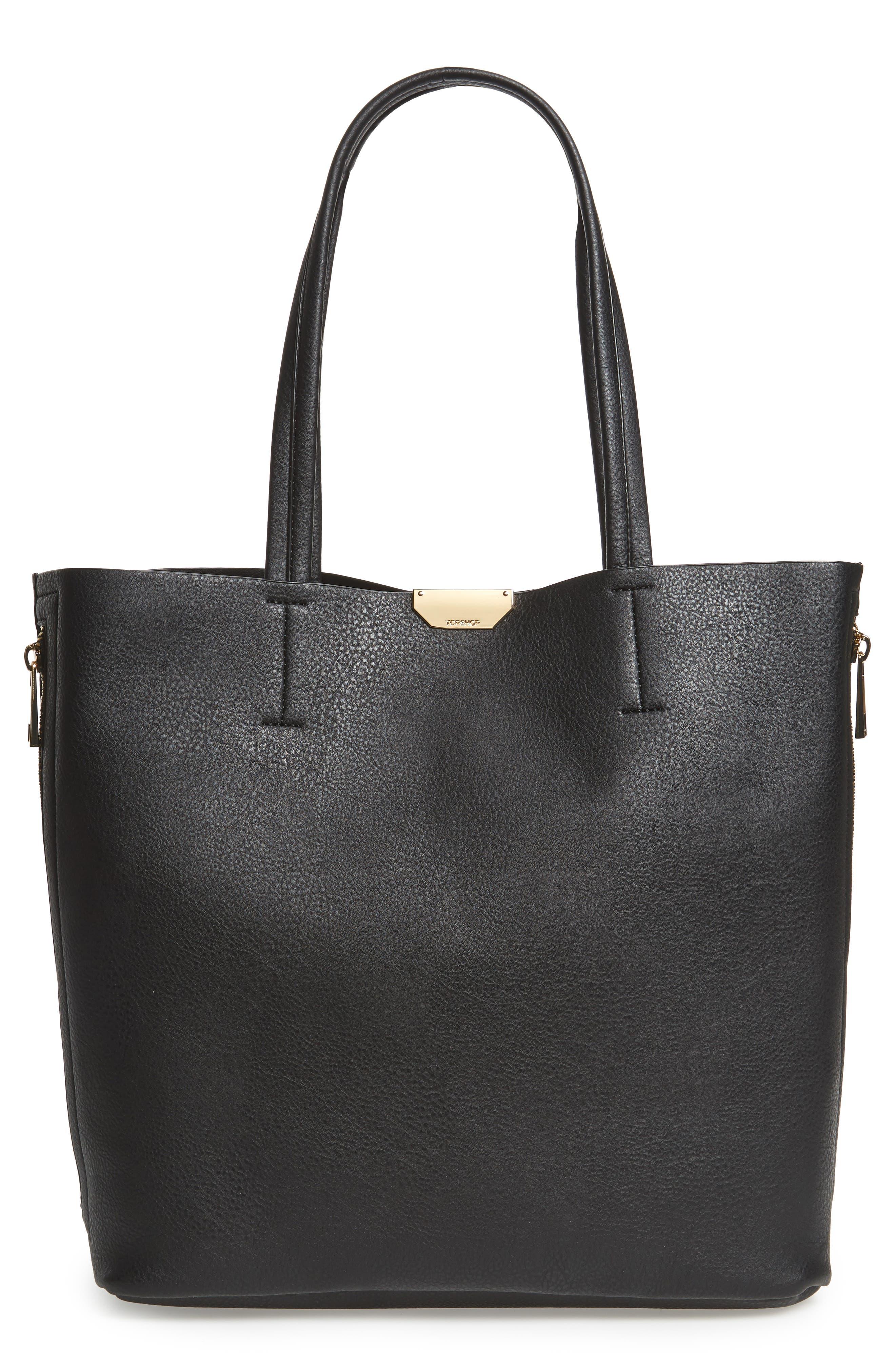 Side Zip Faux Leather Shopper,                         Main,                         color, 001