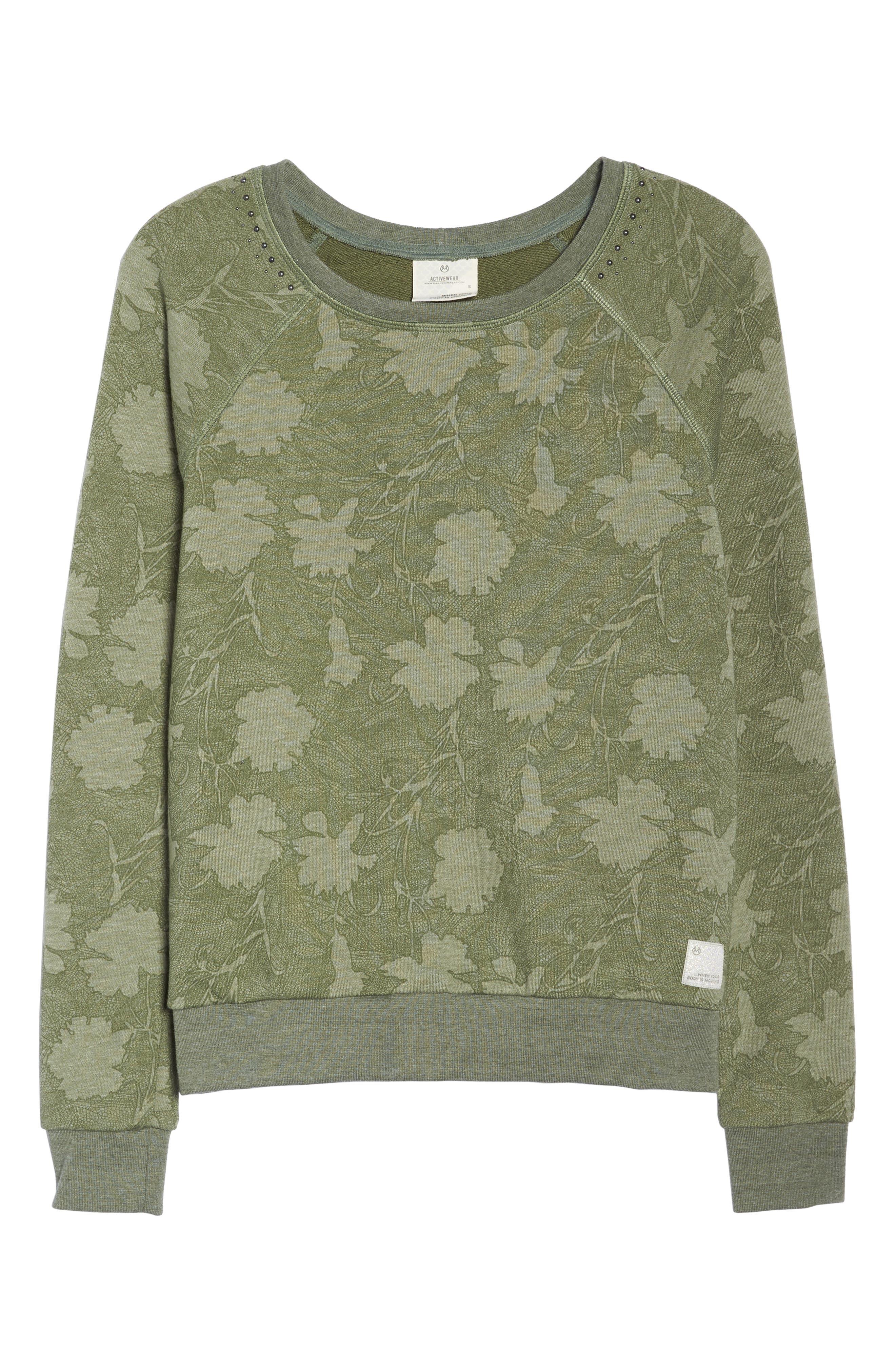 Sleek Leaf Kale Sweatshirt,                             Alternate thumbnail 7, color,                             GREEN