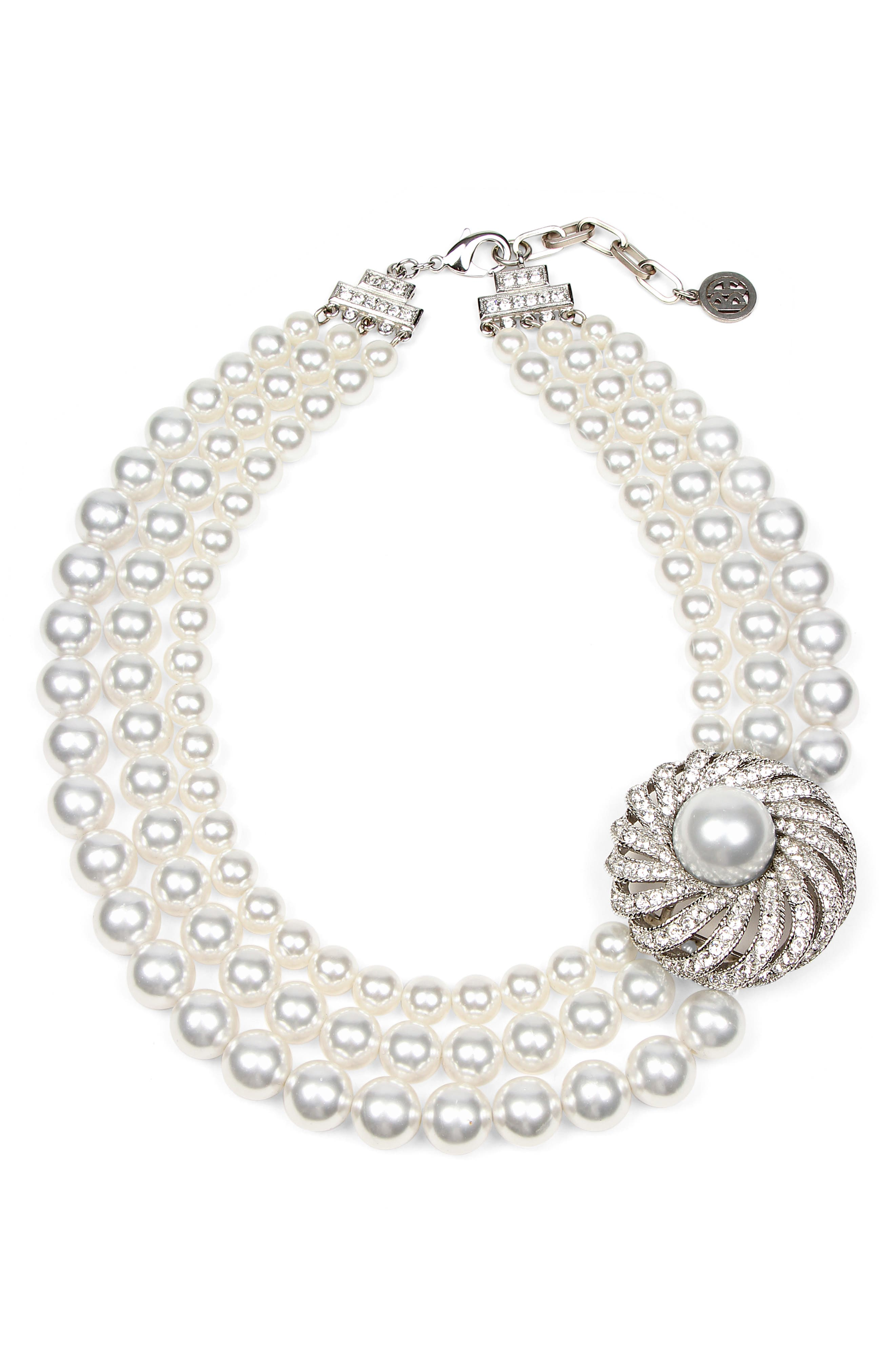 Triple Imitation Pearl Strand Collar Necklace,                             Main thumbnail 1, color,                             SILVER/ BEIGE