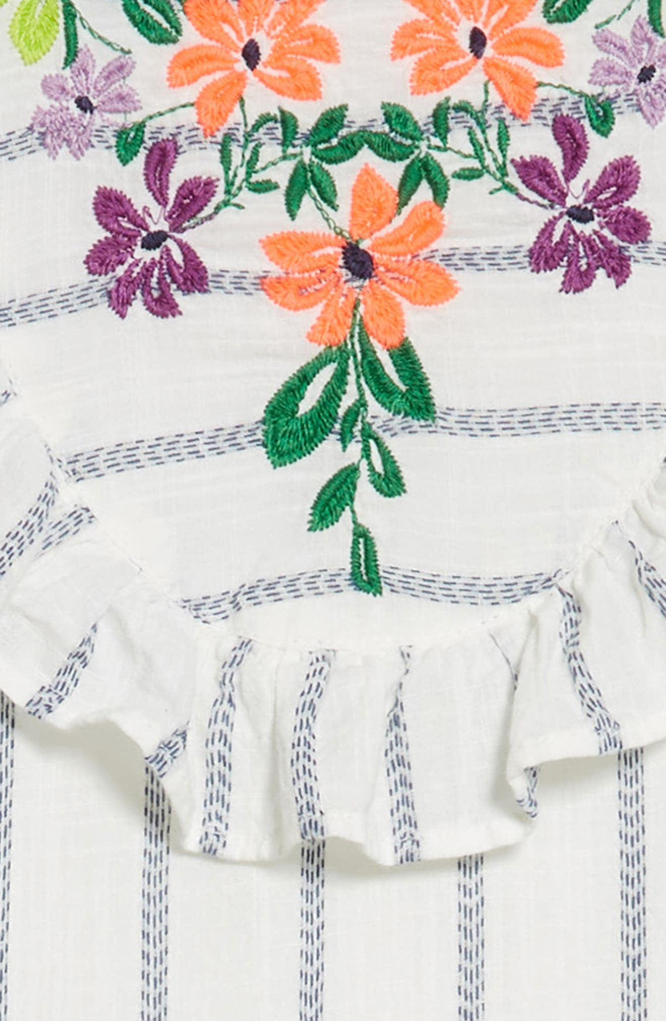 Embroidered Ruffle Dress,                             Alternate thumbnail 3, color,                             100