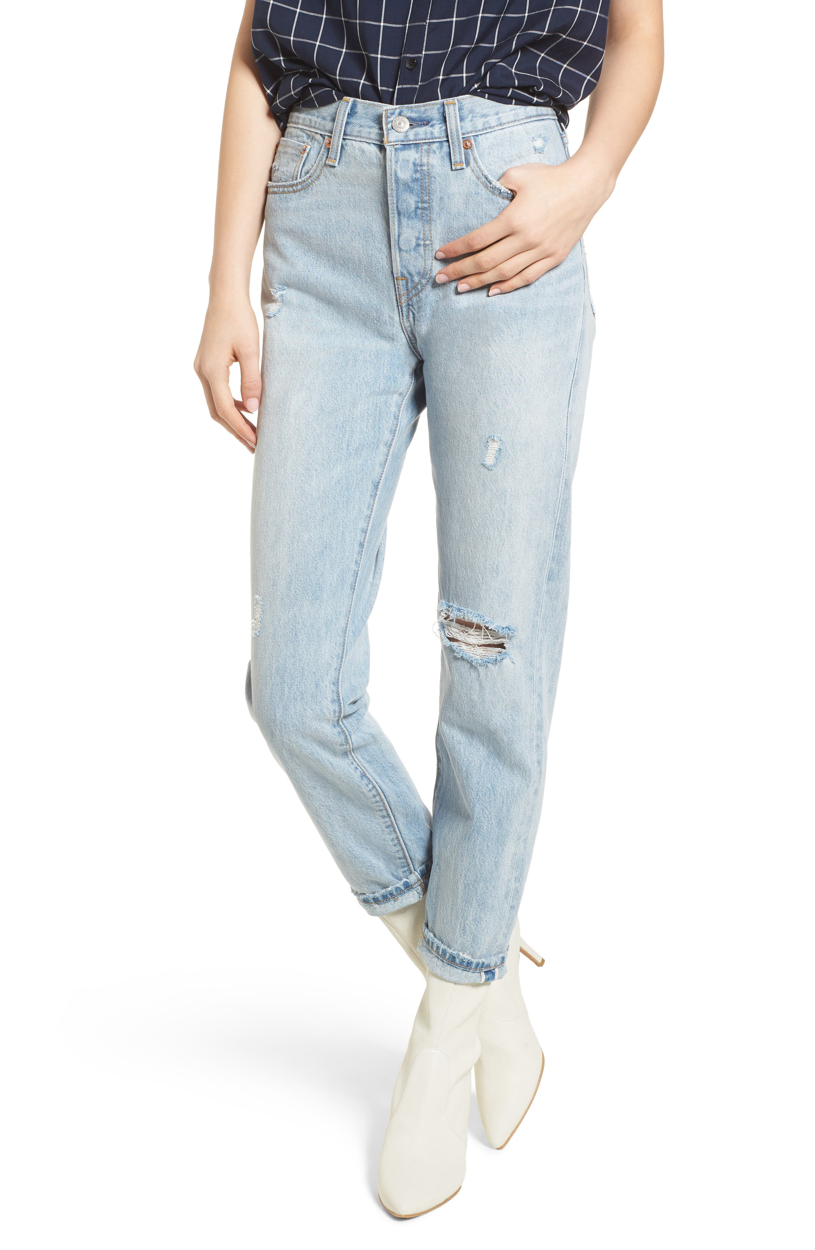 Wedgie Icon Fit Ripped High Waist Ankle Jeans in Desert Delta