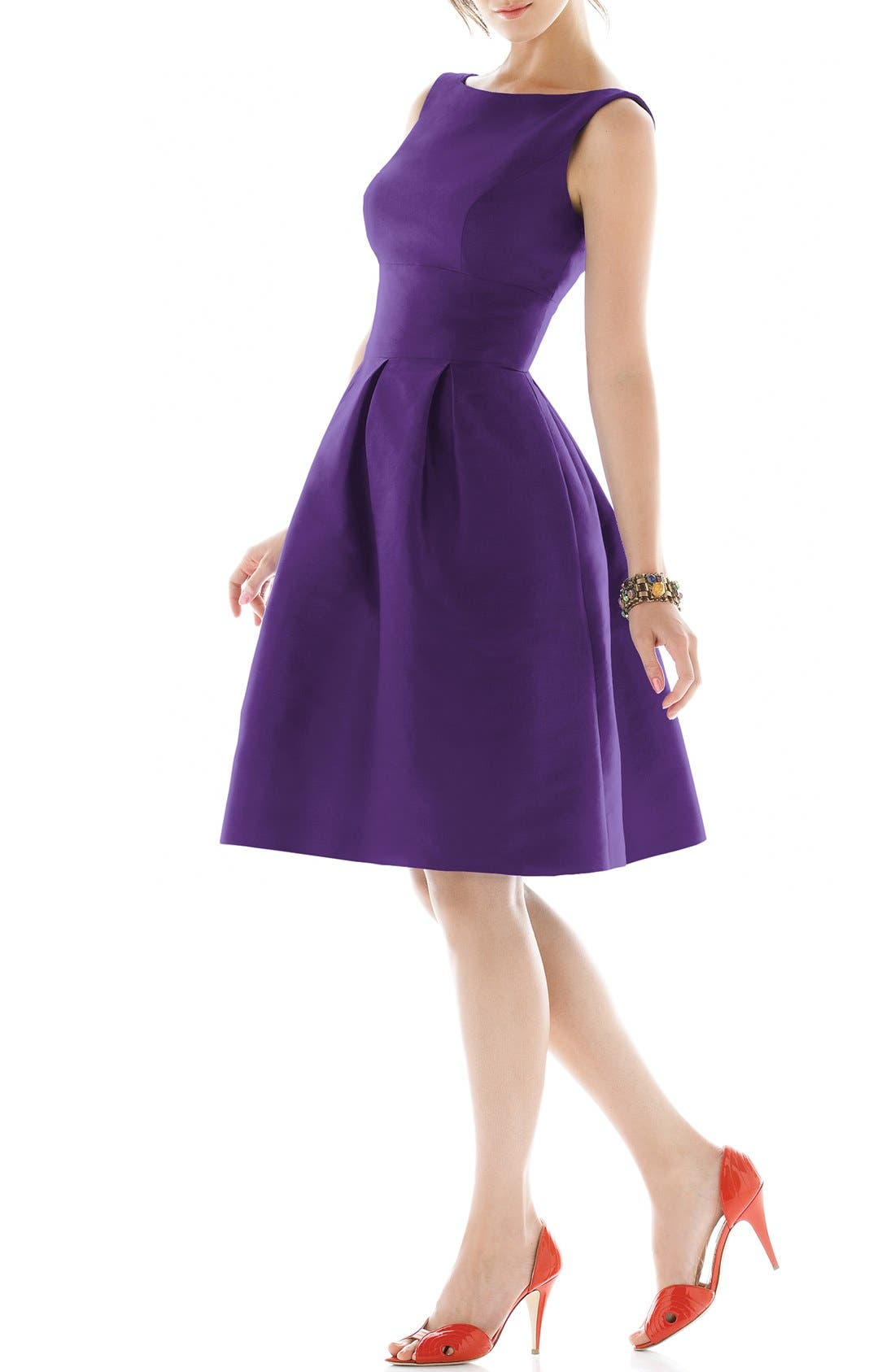 Dupioni Fit & Flare Dress,                             Main thumbnail 2, color,