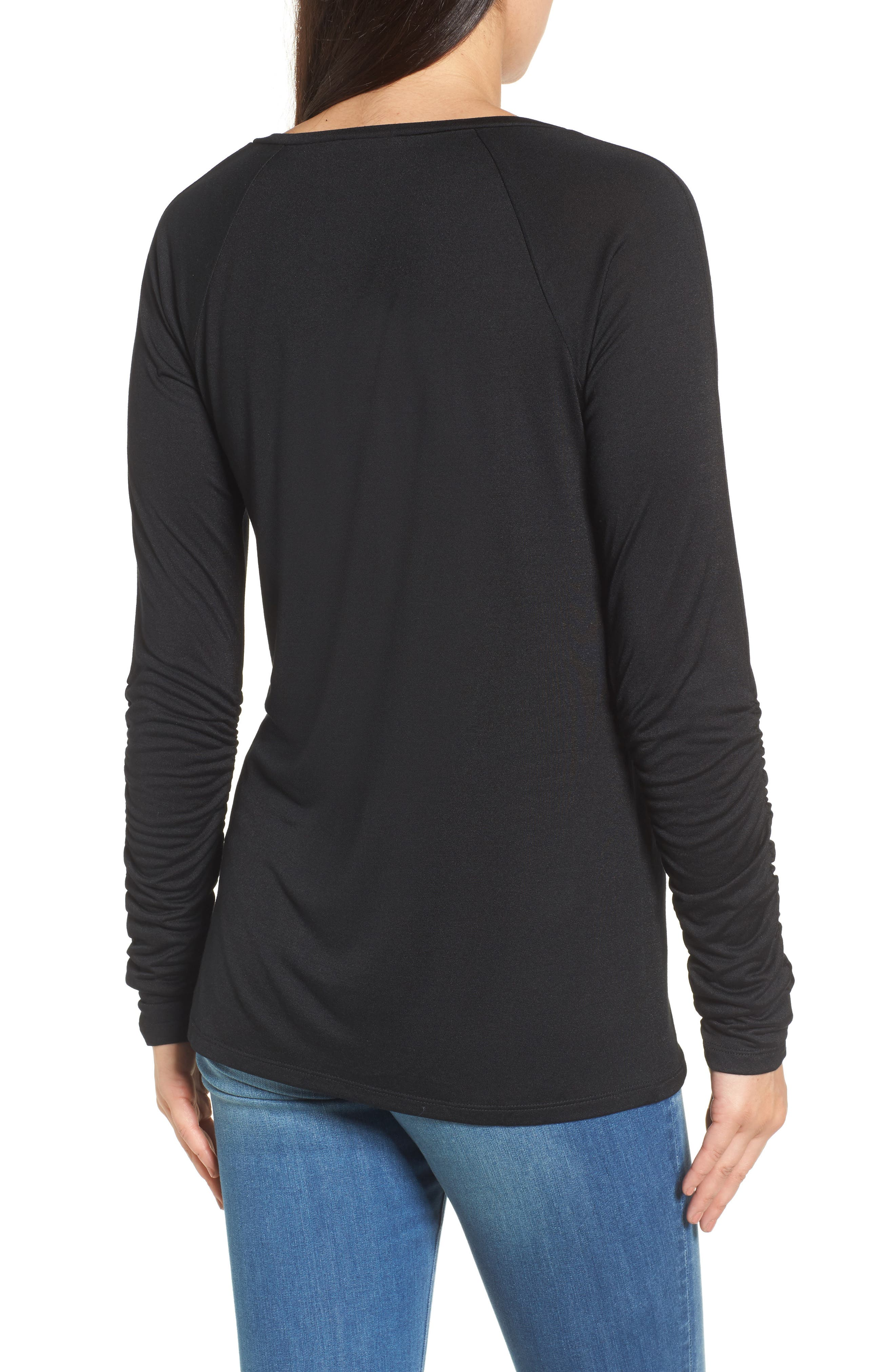 Ruched Sleeve Tee,                             Alternate thumbnail 2, color,                             001