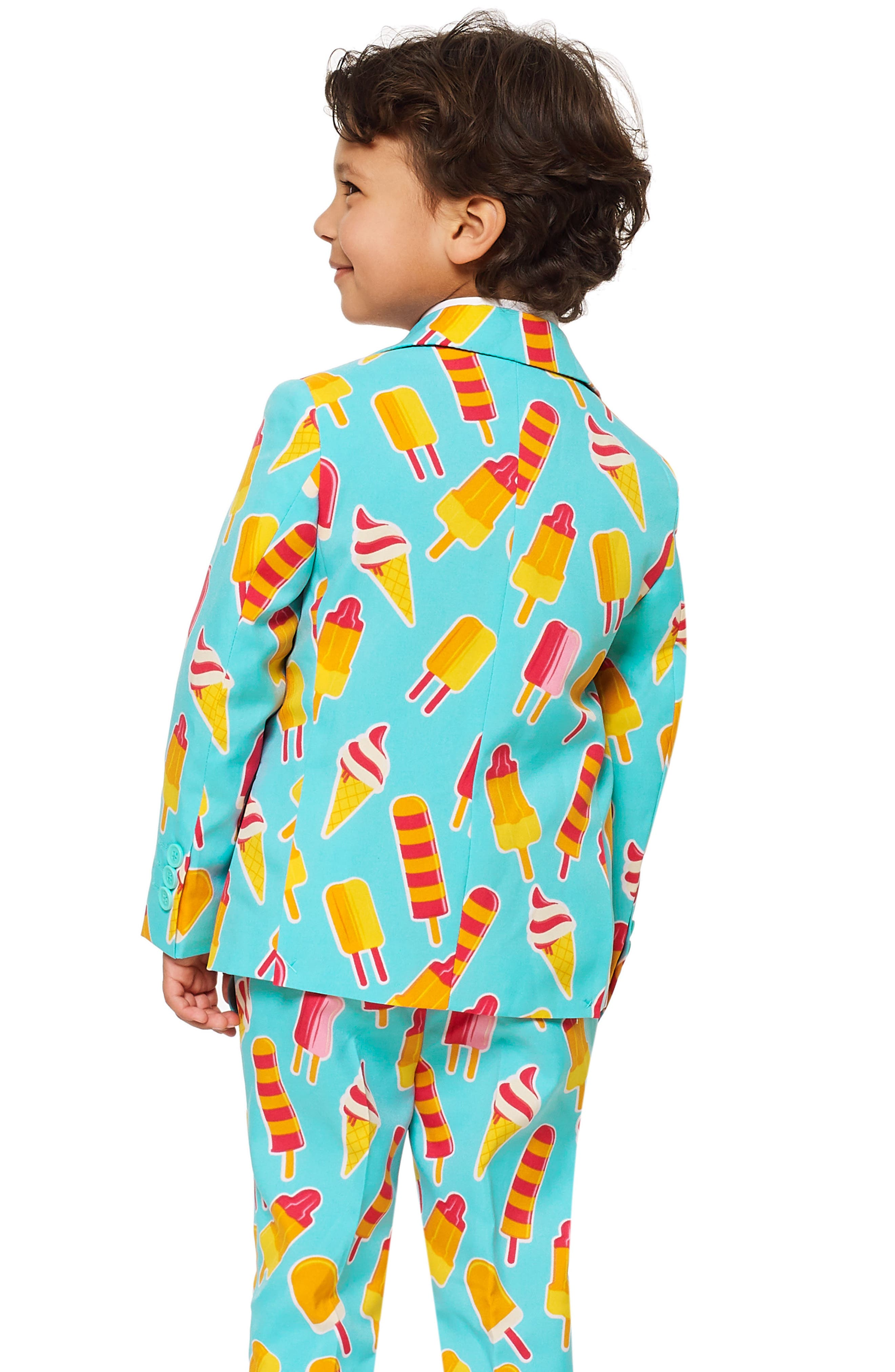 Cool Cones Two-Piece Suit with Tie,                             Alternate thumbnail 2, color,                             BLUE