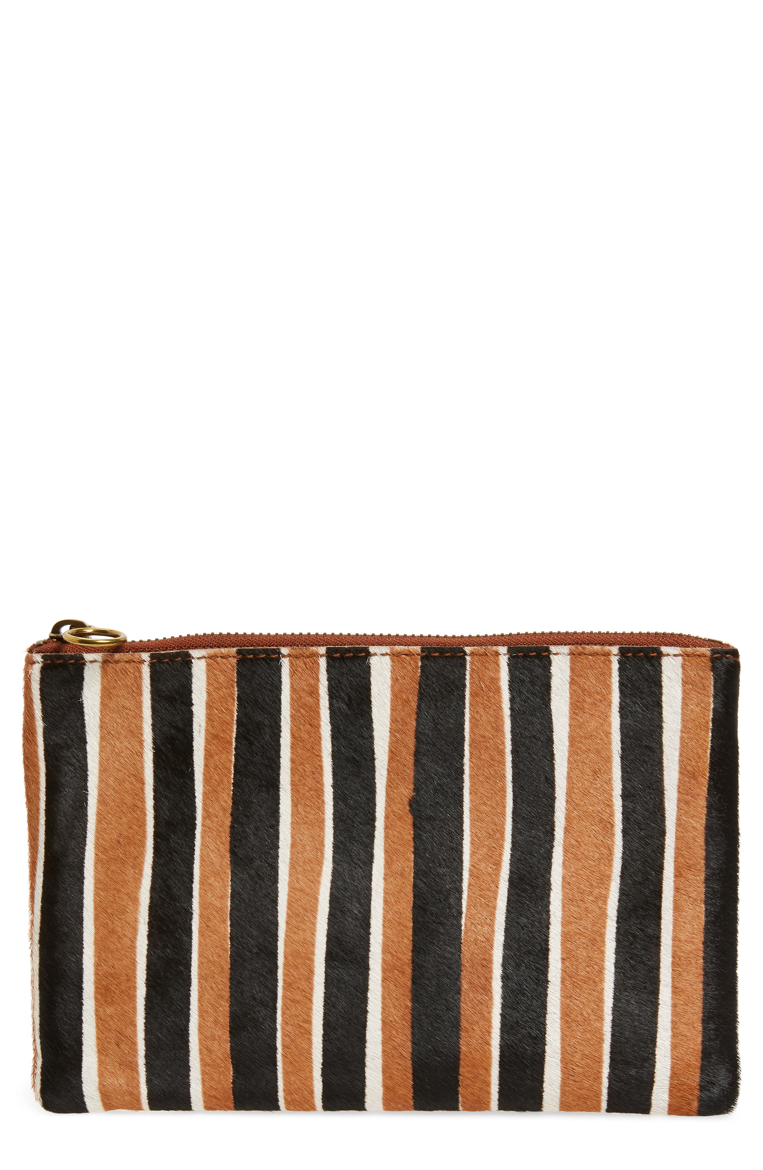 The Leather Pouch Clutch in Genuine Calf Hair,                             Main thumbnail 1, color,                             ACORN MULTI