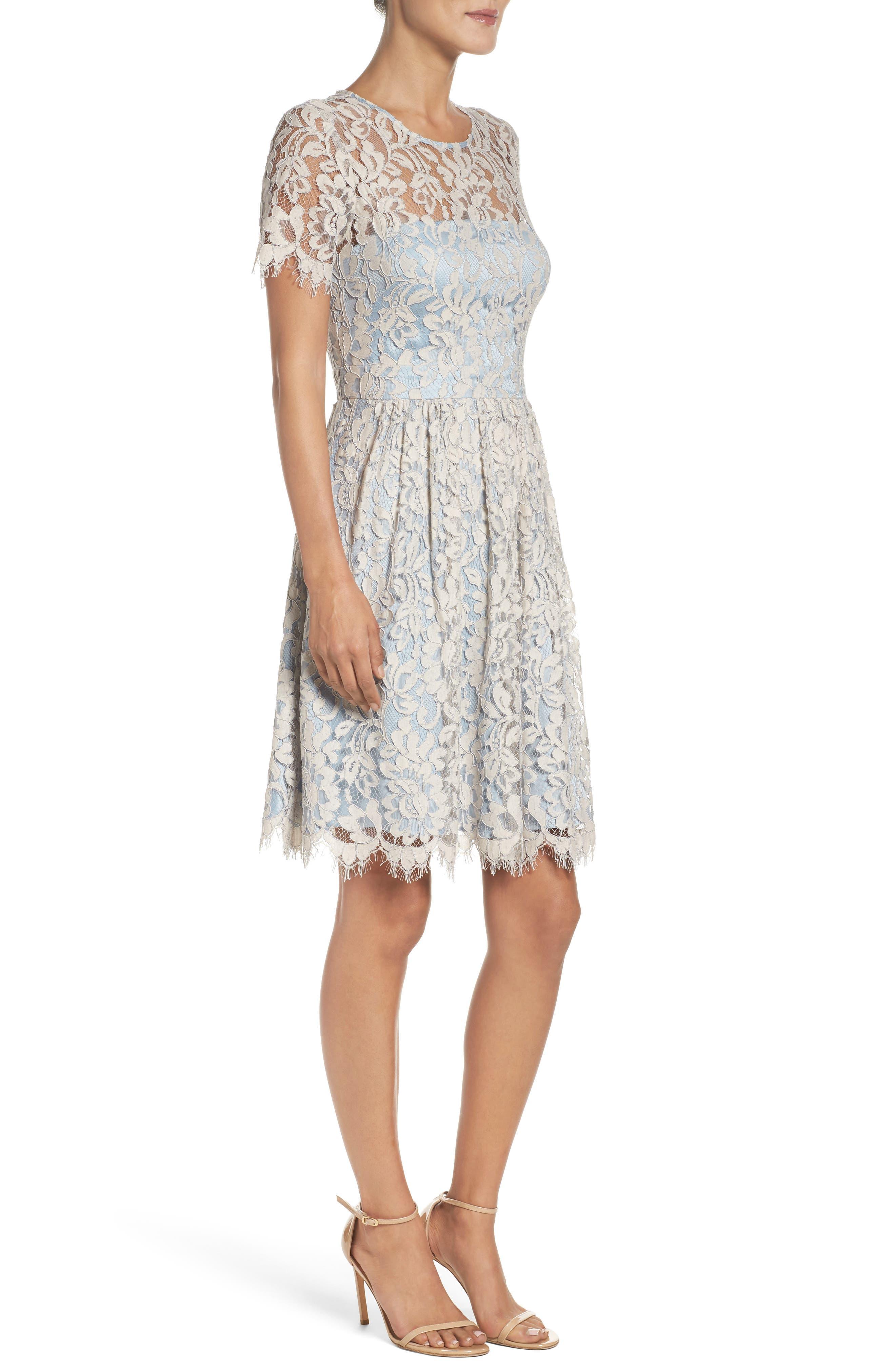 Fit & Flare Dress,                             Alternate thumbnail 3, color,                             451