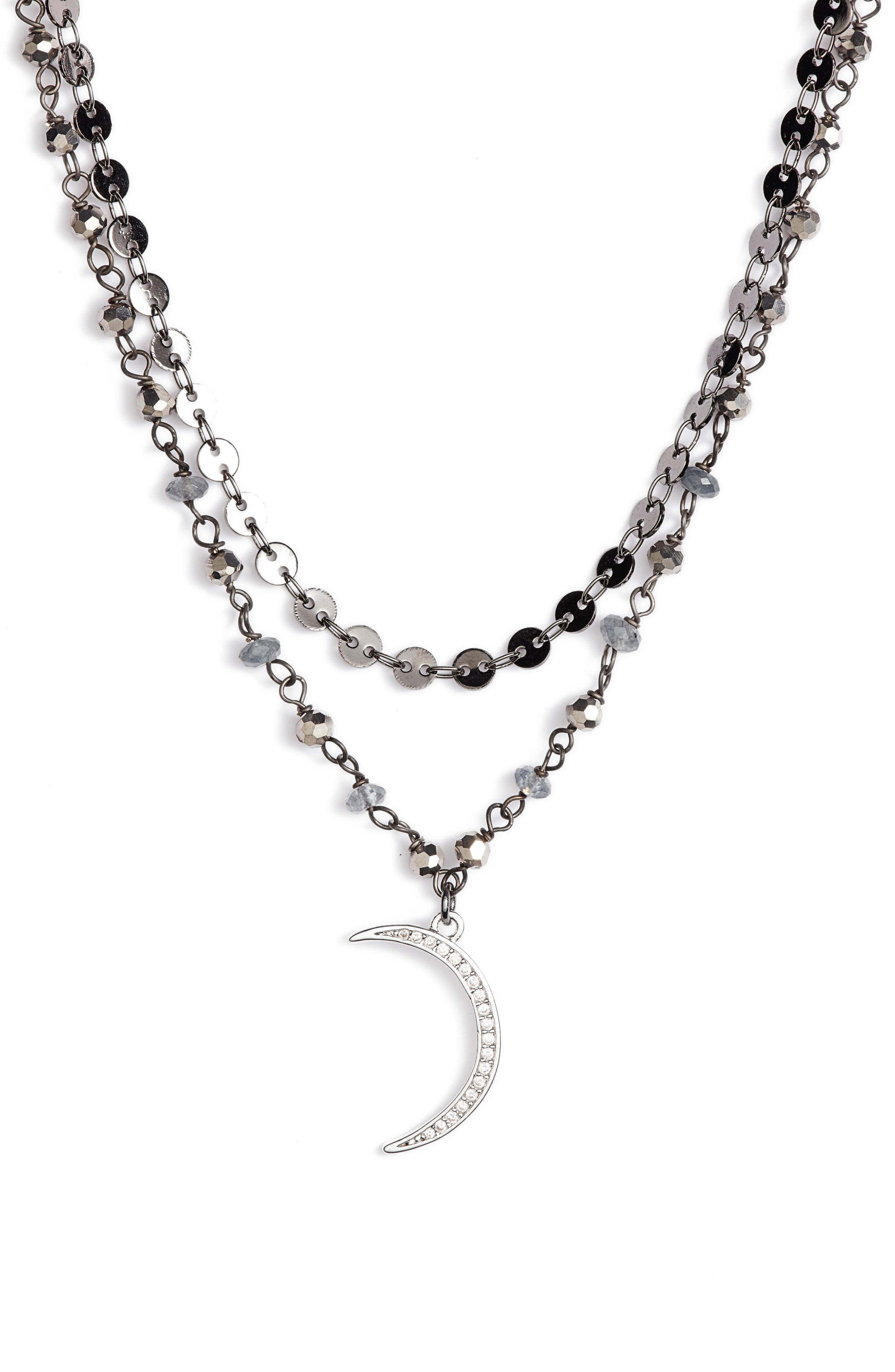 Moon Charm Layered Necklace,                             Alternate thumbnail 2, color,                             020