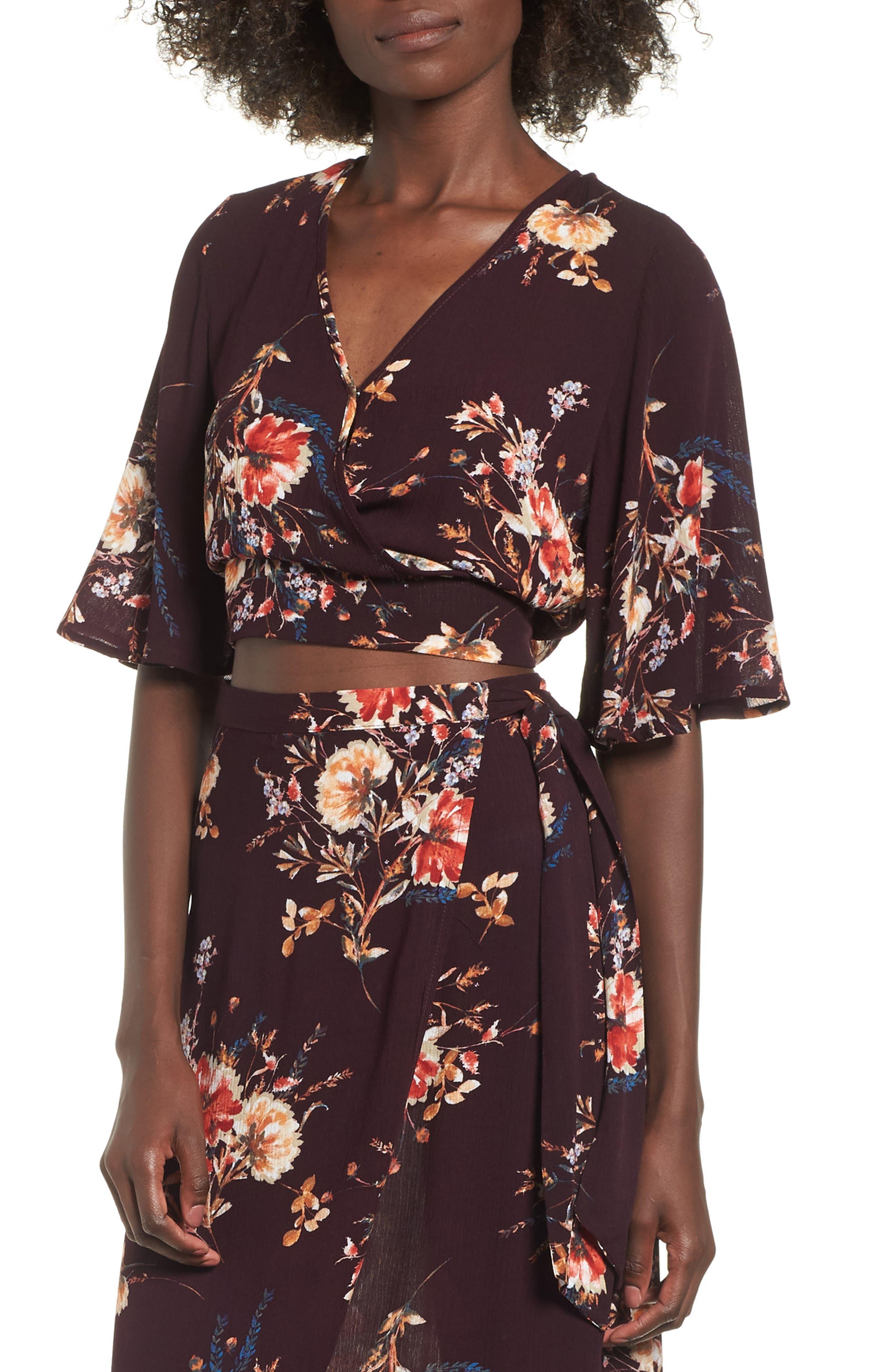 Shadow Floral Tie Back Crop Top,                         Main,                         color, BURGUNDY/ PEACH