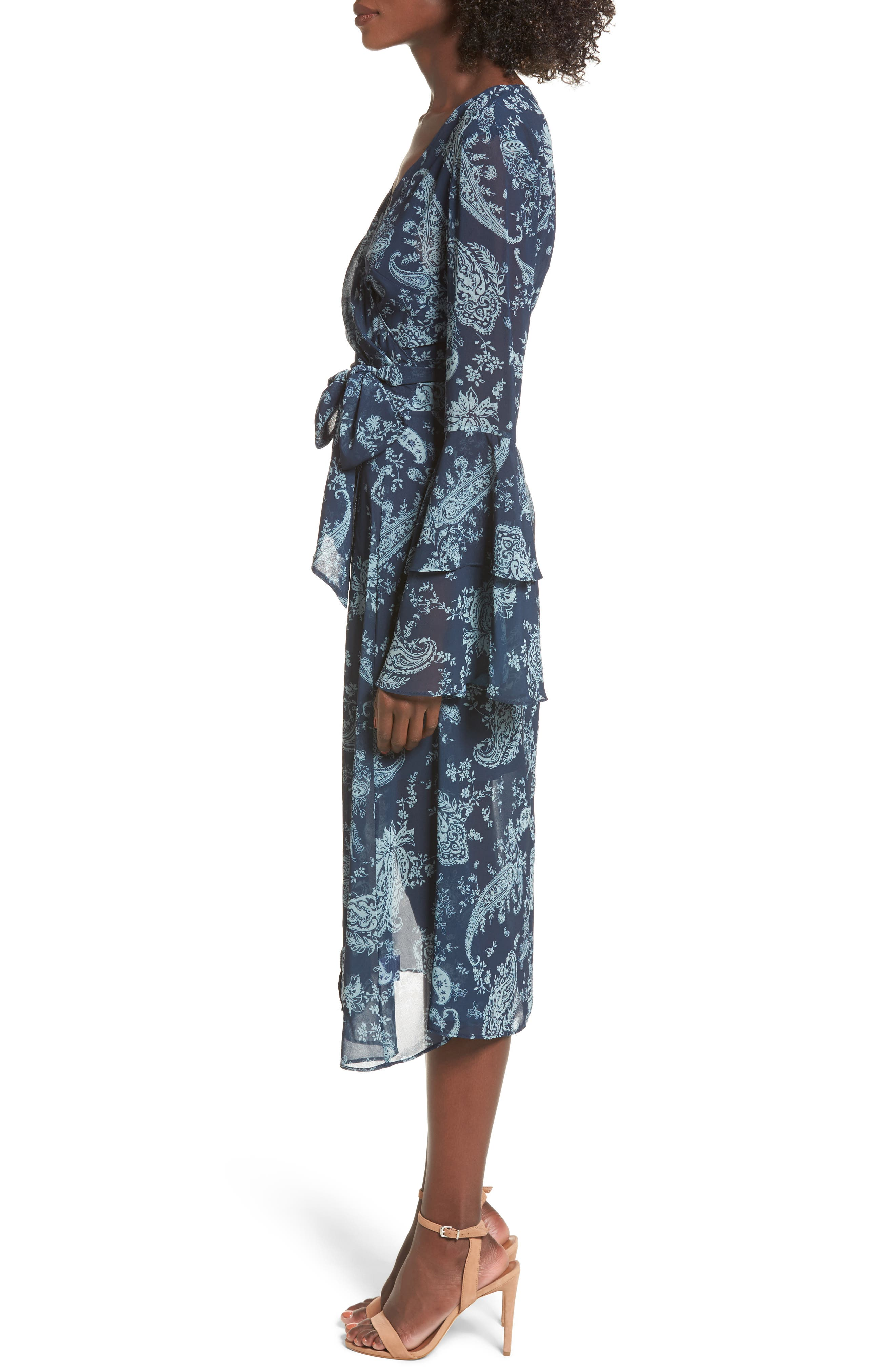 Go With It Wrap Midi Dress,                             Alternate thumbnail 3, color,                             401
