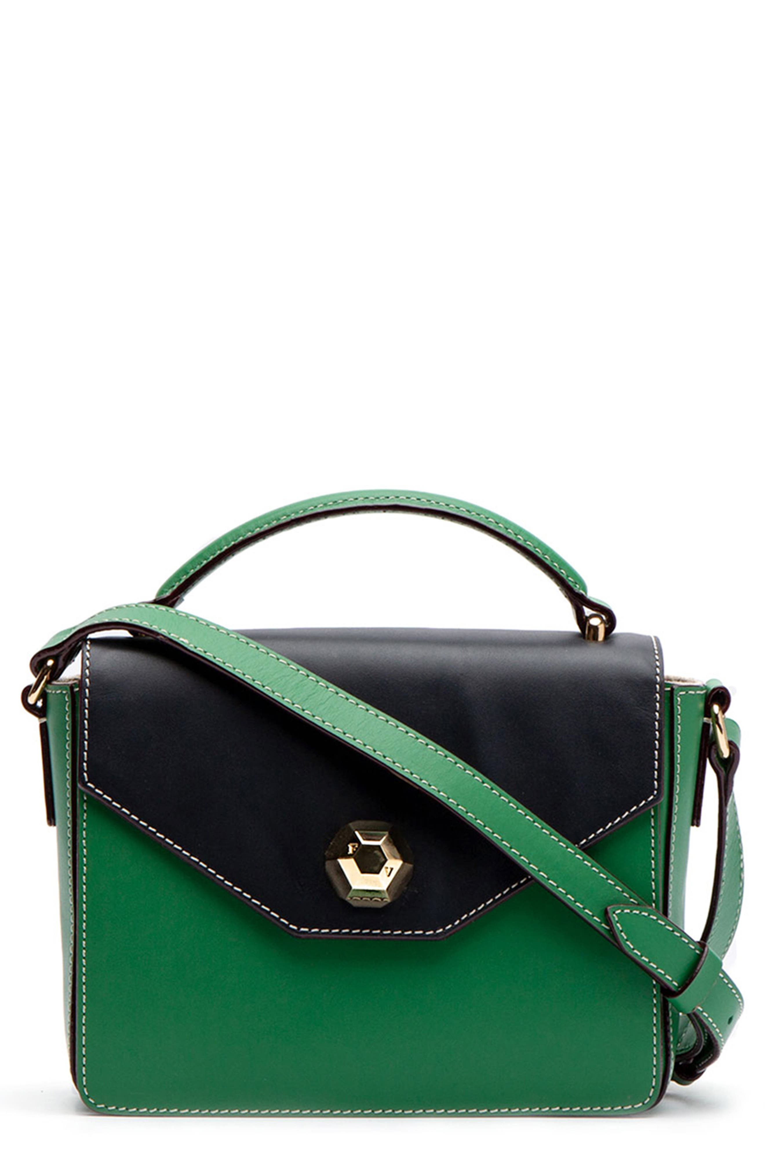 FRANCES VALENTINE Mini Midge Leather Crossbody Bag - Green in Green Ray/ Ink