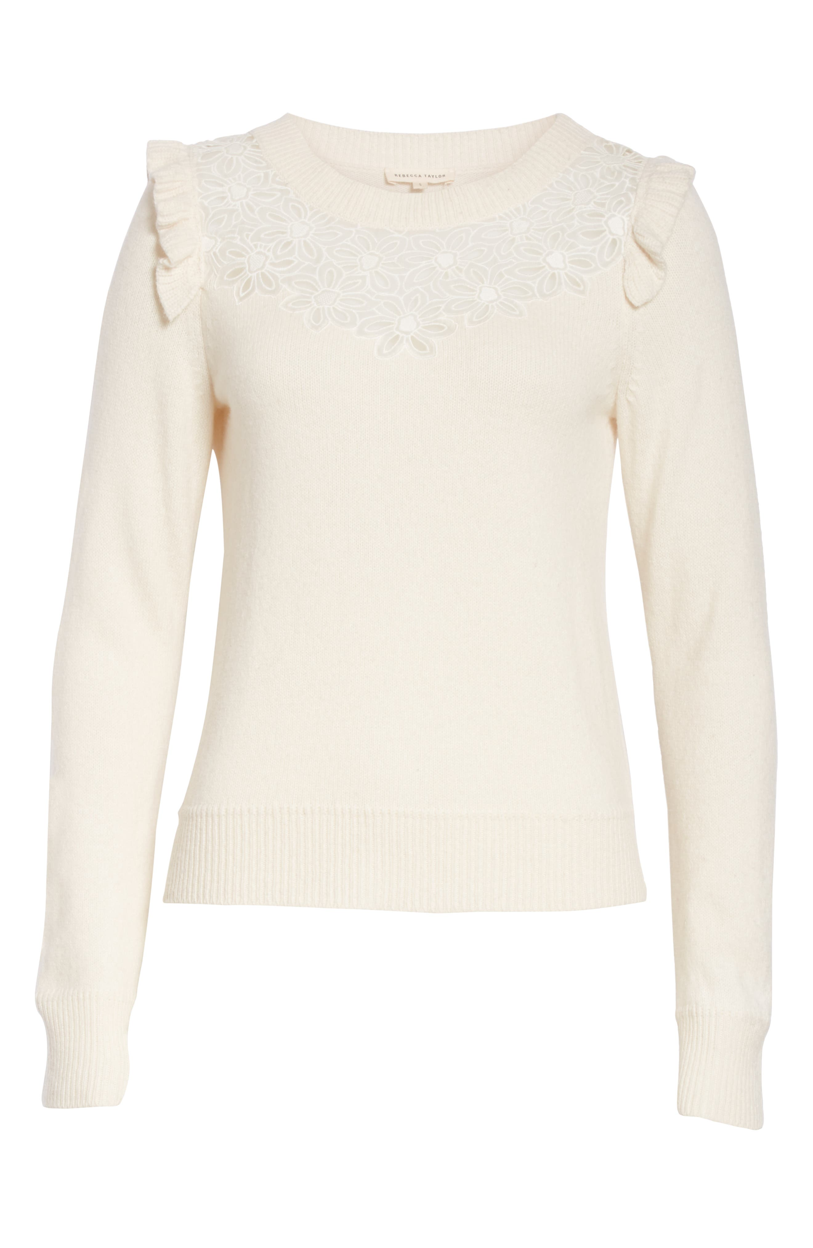 Emilie Embroidered Sweater,                             Alternate thumbnail 6, color,                             CREAM