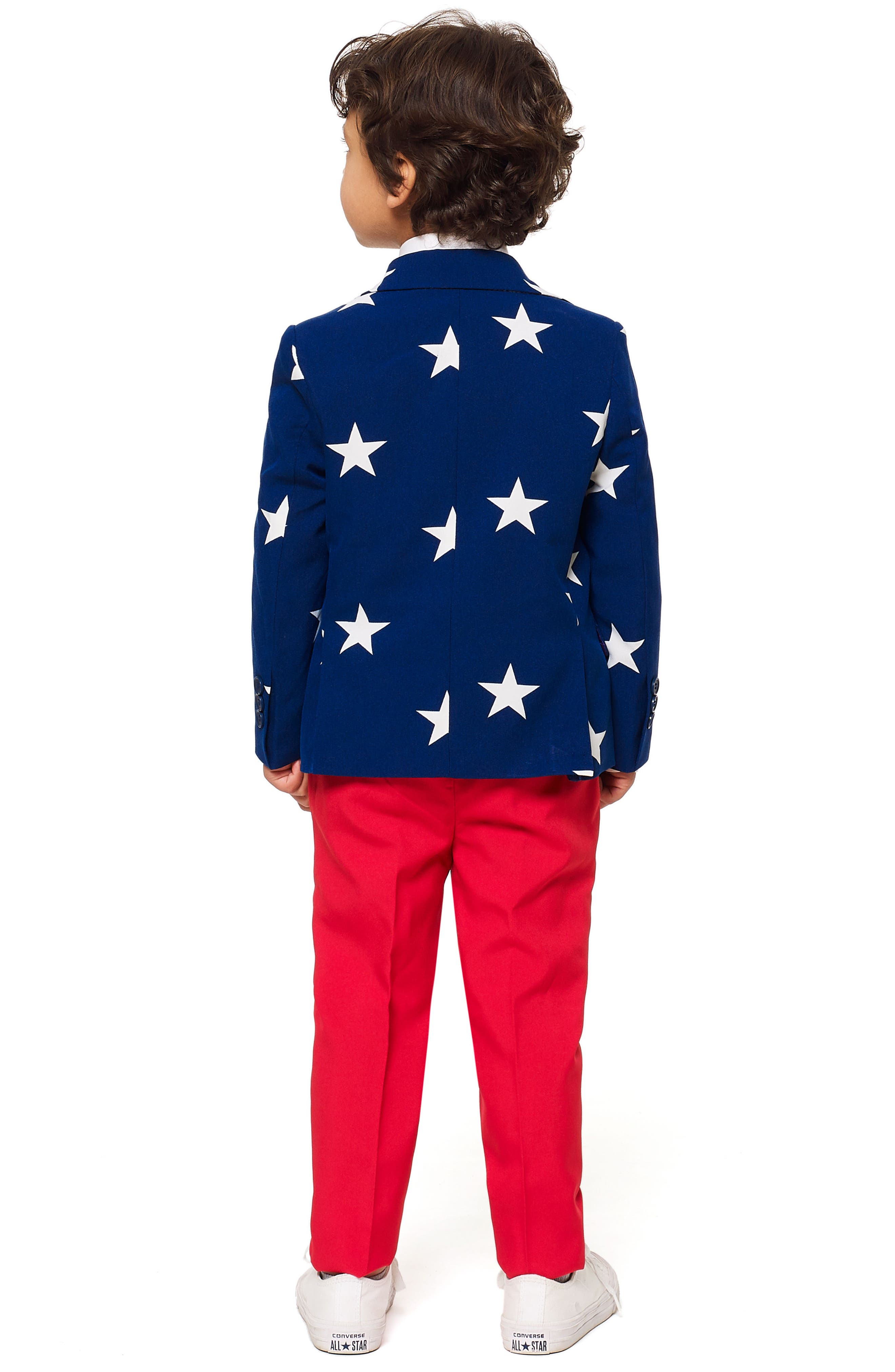 Stars & Stripes Two-Piece Suit with Tie,                             Alternate thumbnail 2, color,                             BLUE