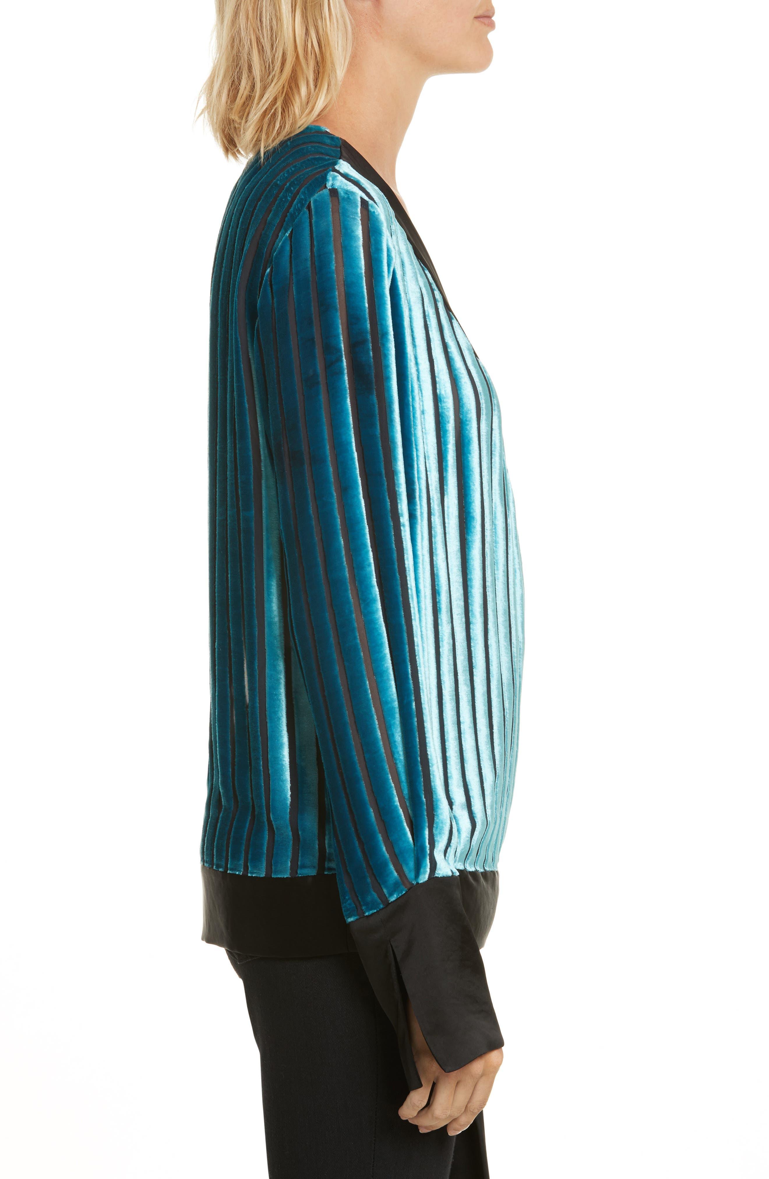 Diane von Furstenberg Velvet Stripe Blouse,                             Alternate thumbnail 3, color,                             401