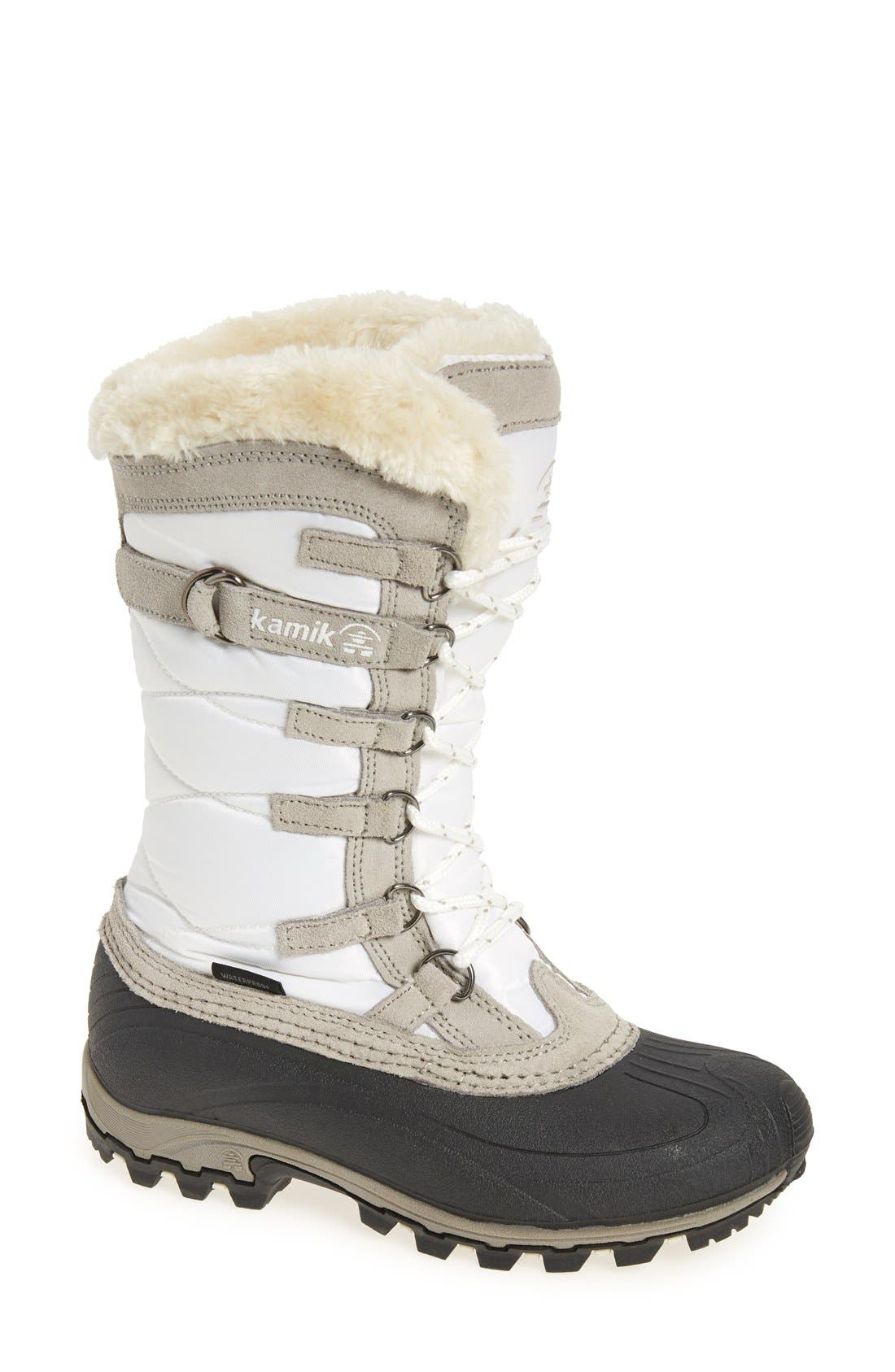 Kamik Snowvalley Waterproof Boot With Faux Fur Cuff, White