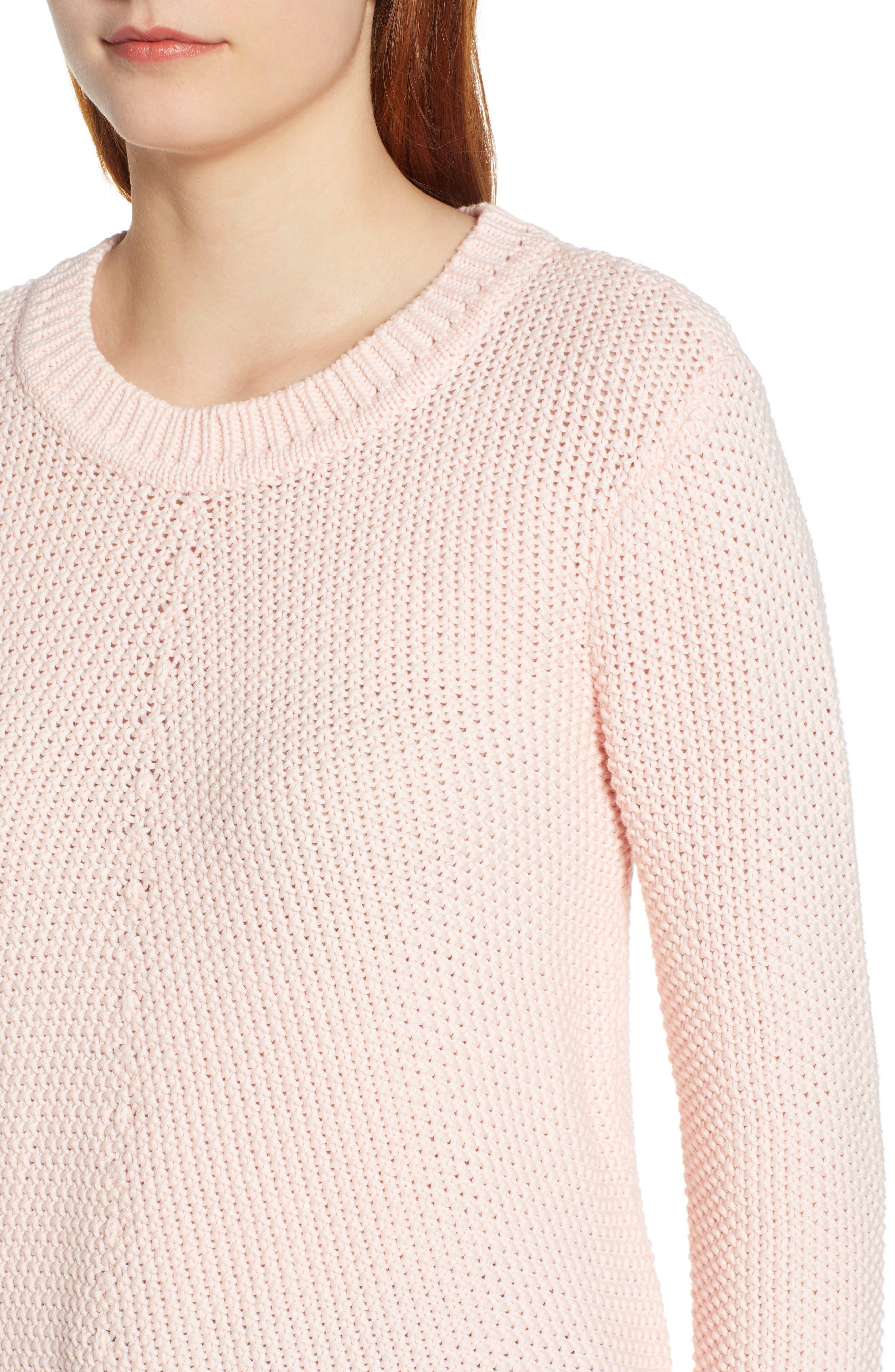 CASLON<SUP>®</SUP>,                             Stitch Stripe Sweater,                             Alternate thumbnail 4, color,                             PINK CHINTZ