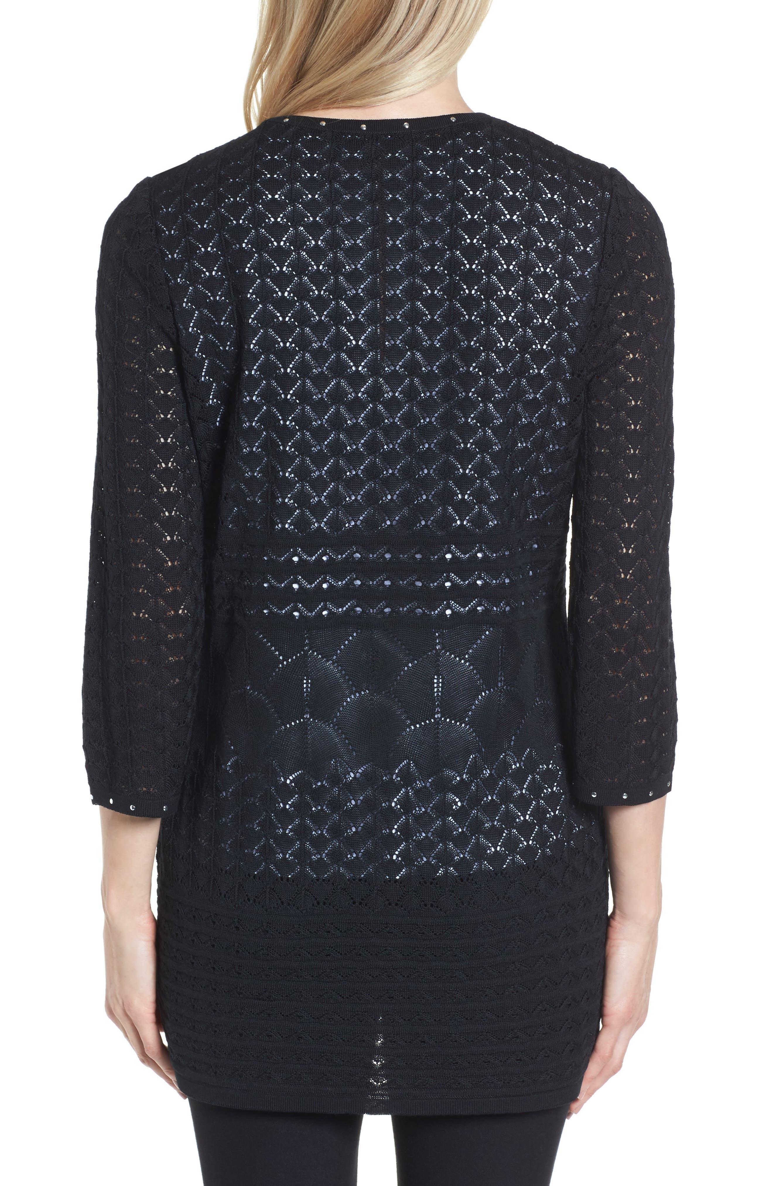 Studded Pointelle Sweater Jacket,                             Alternate thumbnail 2, color,                             001