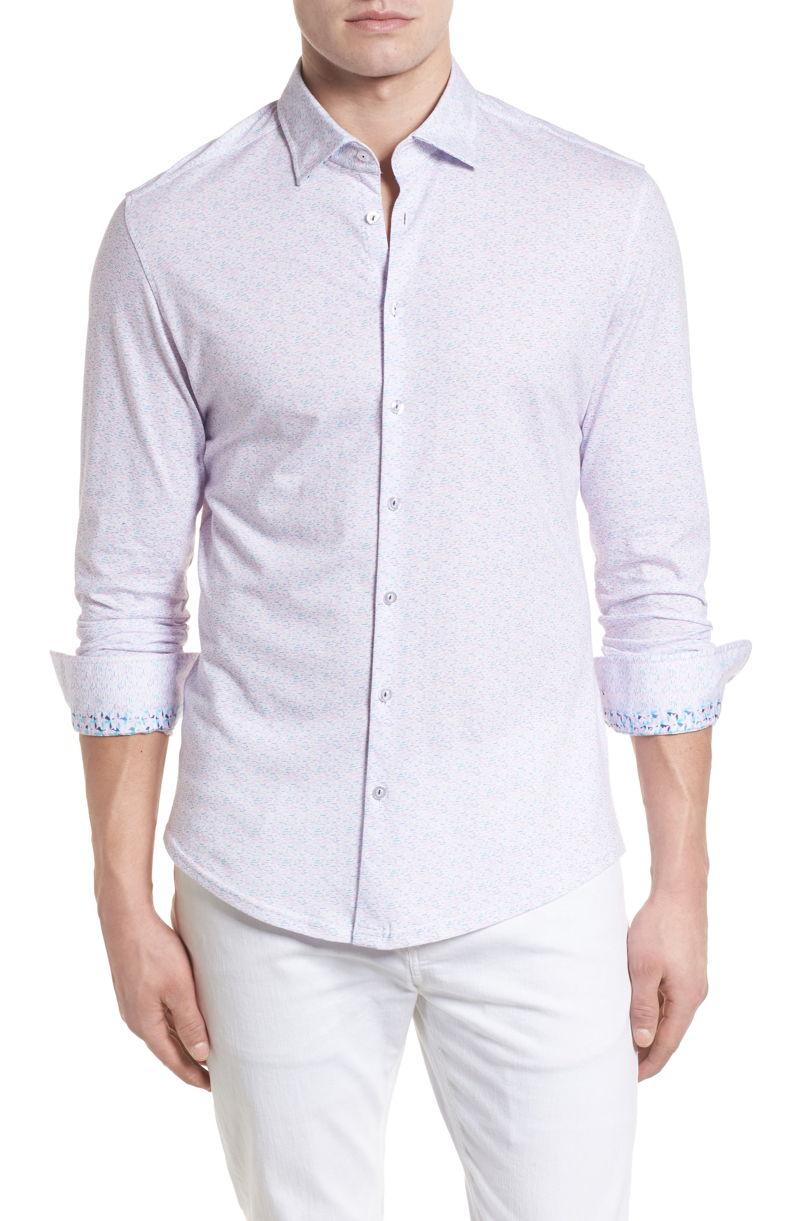 Contemporary Fit Print Sport Shirt,                         Main,                         color, LAVENDER