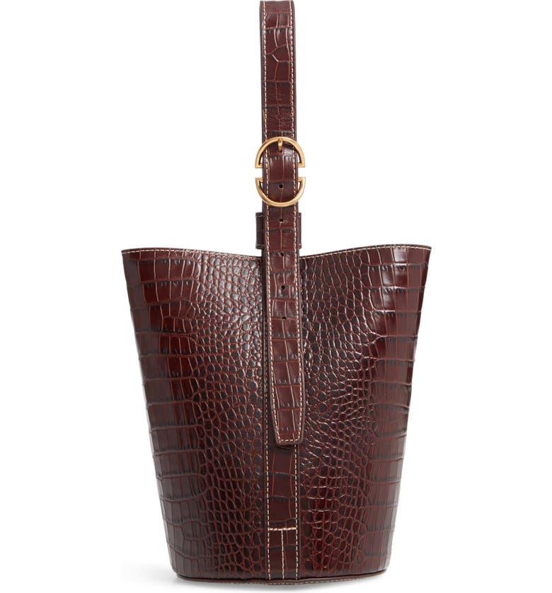 Trademark SMALL LEATHER BUCKET BAG - BROWN