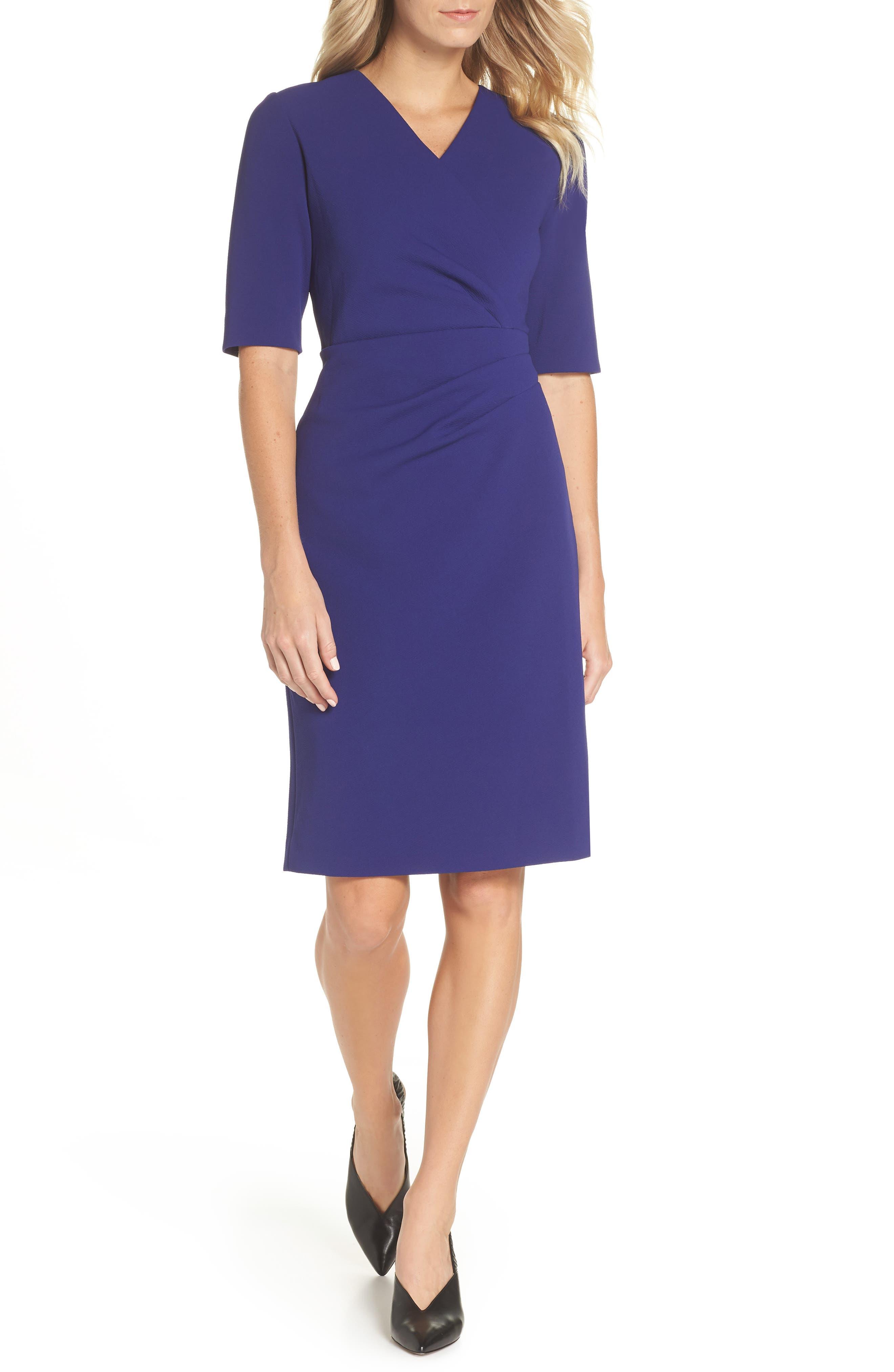 Scuba Crepe Sheath Dress,                         Main,                         color, INK