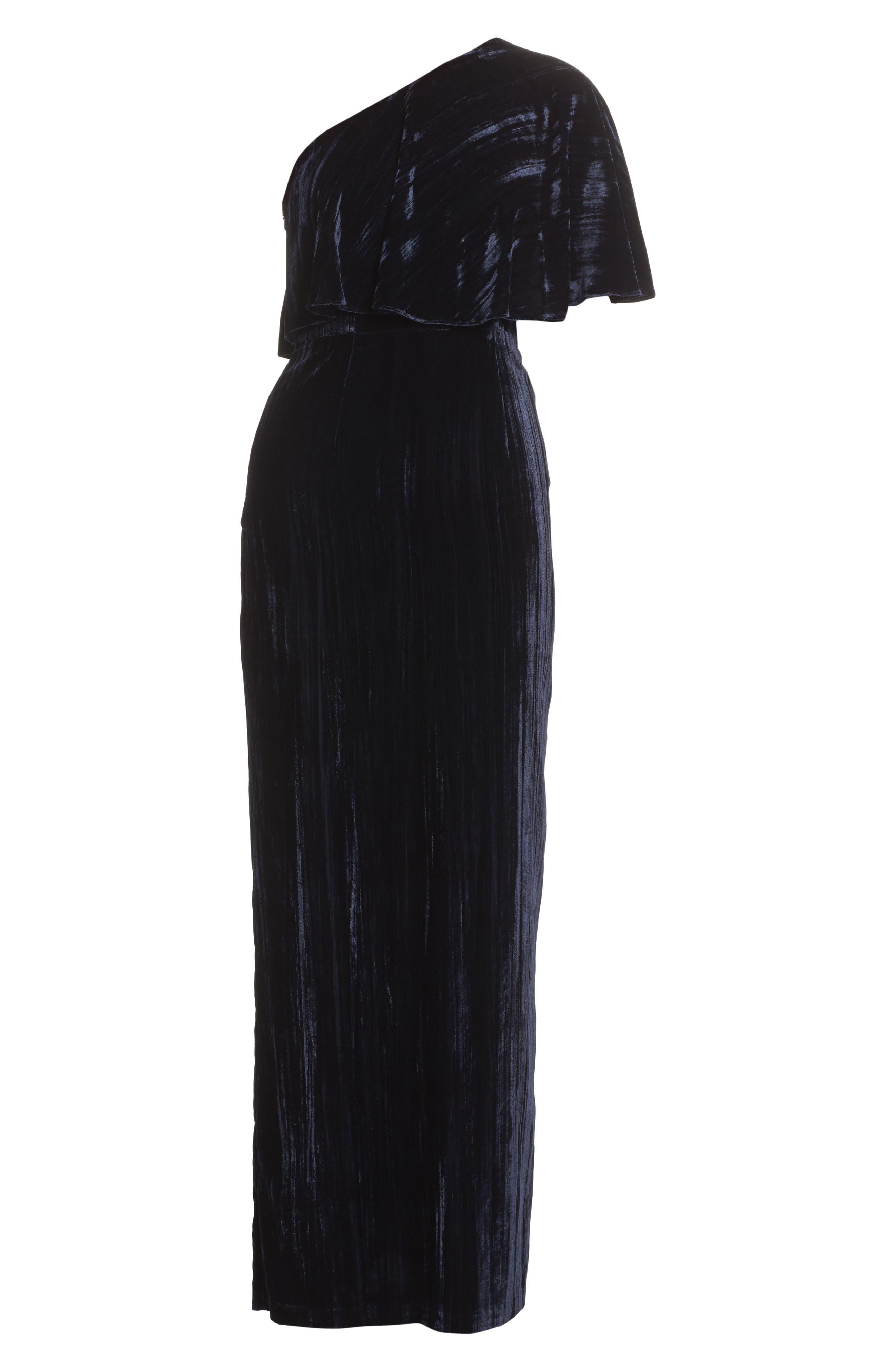 One-Shoulder Velvet Gown,                             Alternate thumbnail 6, color,                             412