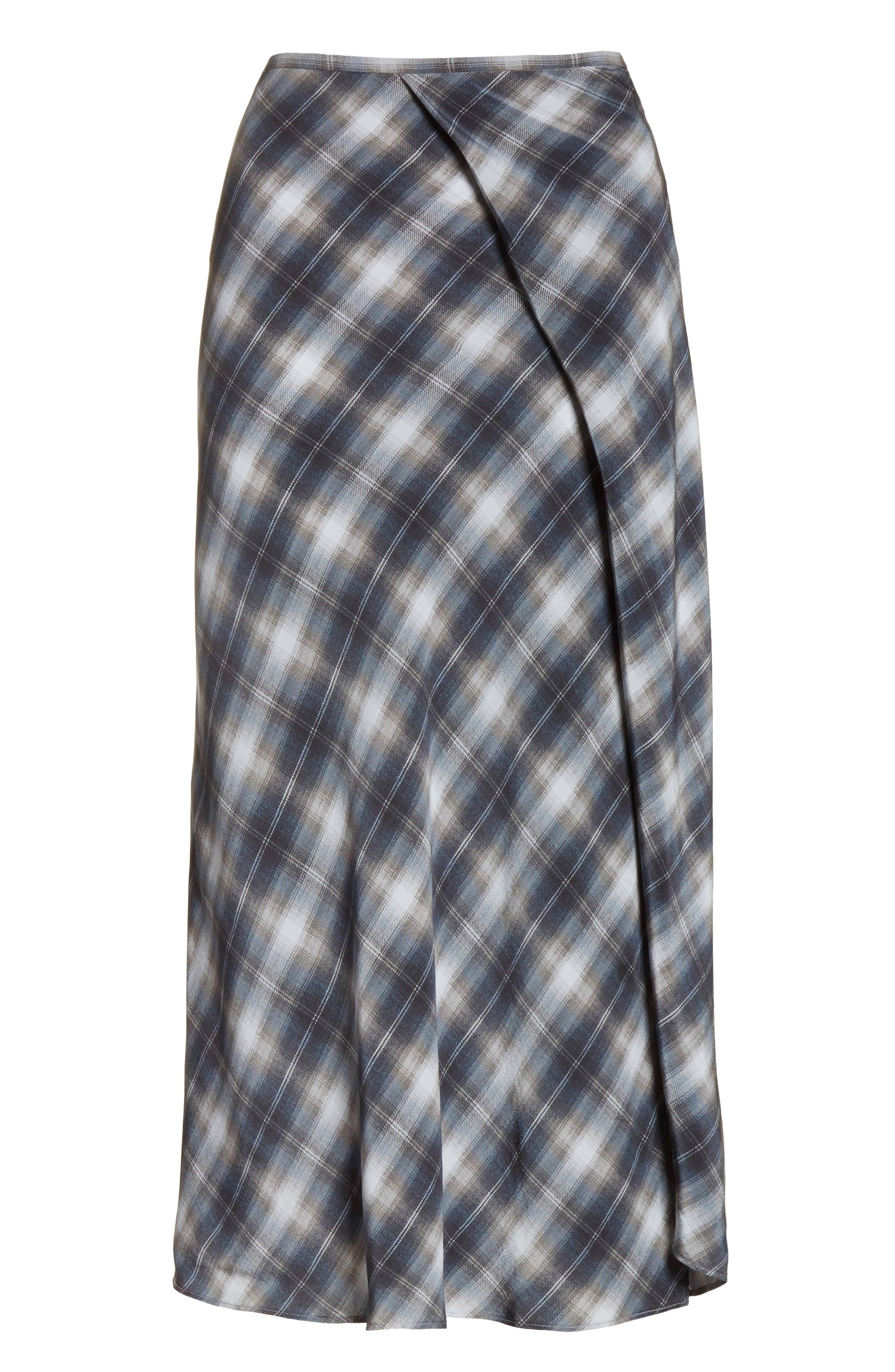 Shadow Plaid Midi Silk Skirt,                             Alternate thumbnail 6, color,                             409