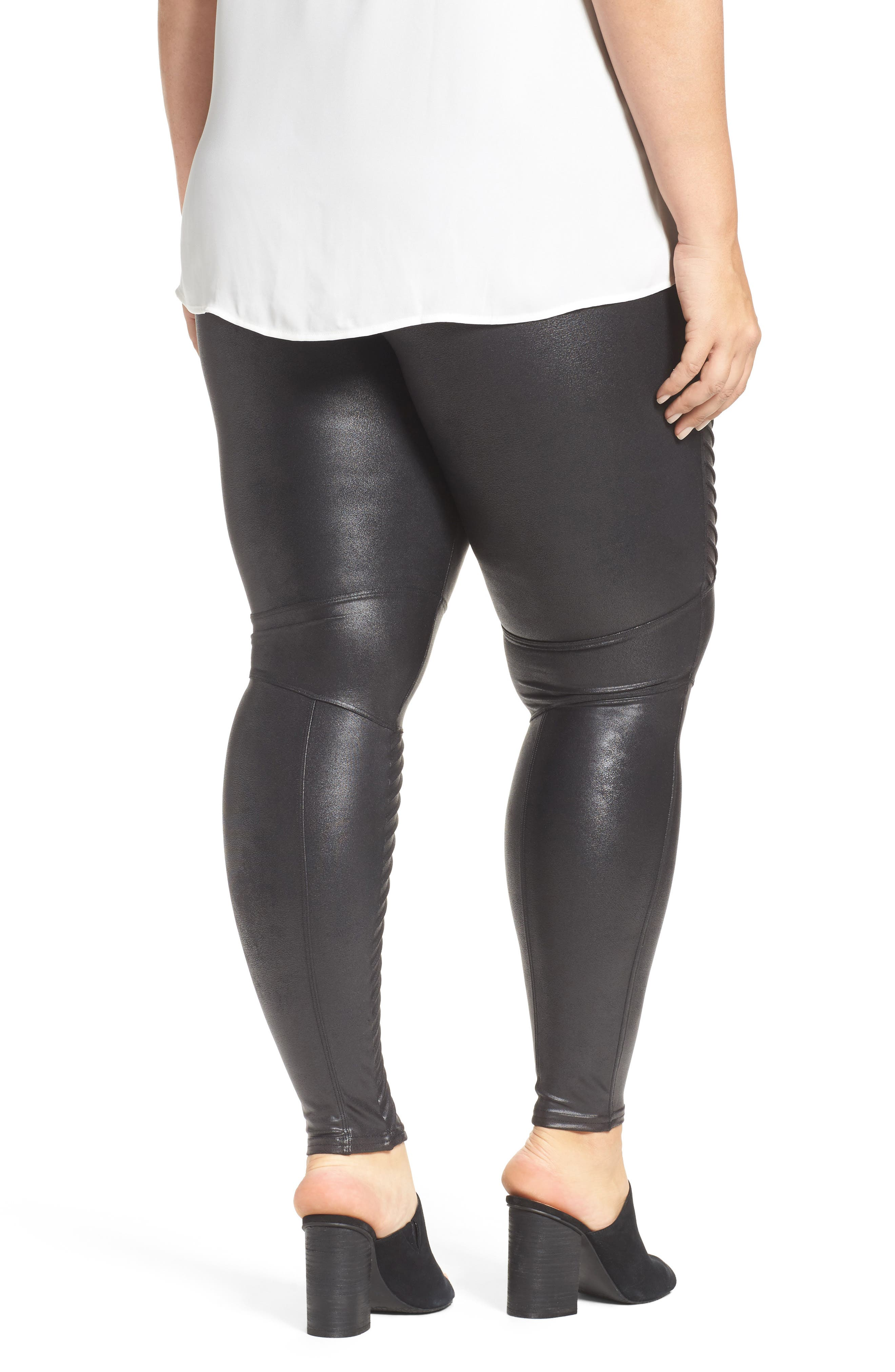 High Waist Moto Leggings,                             Alternate thumbnail 2, color,                             VERY BLACK