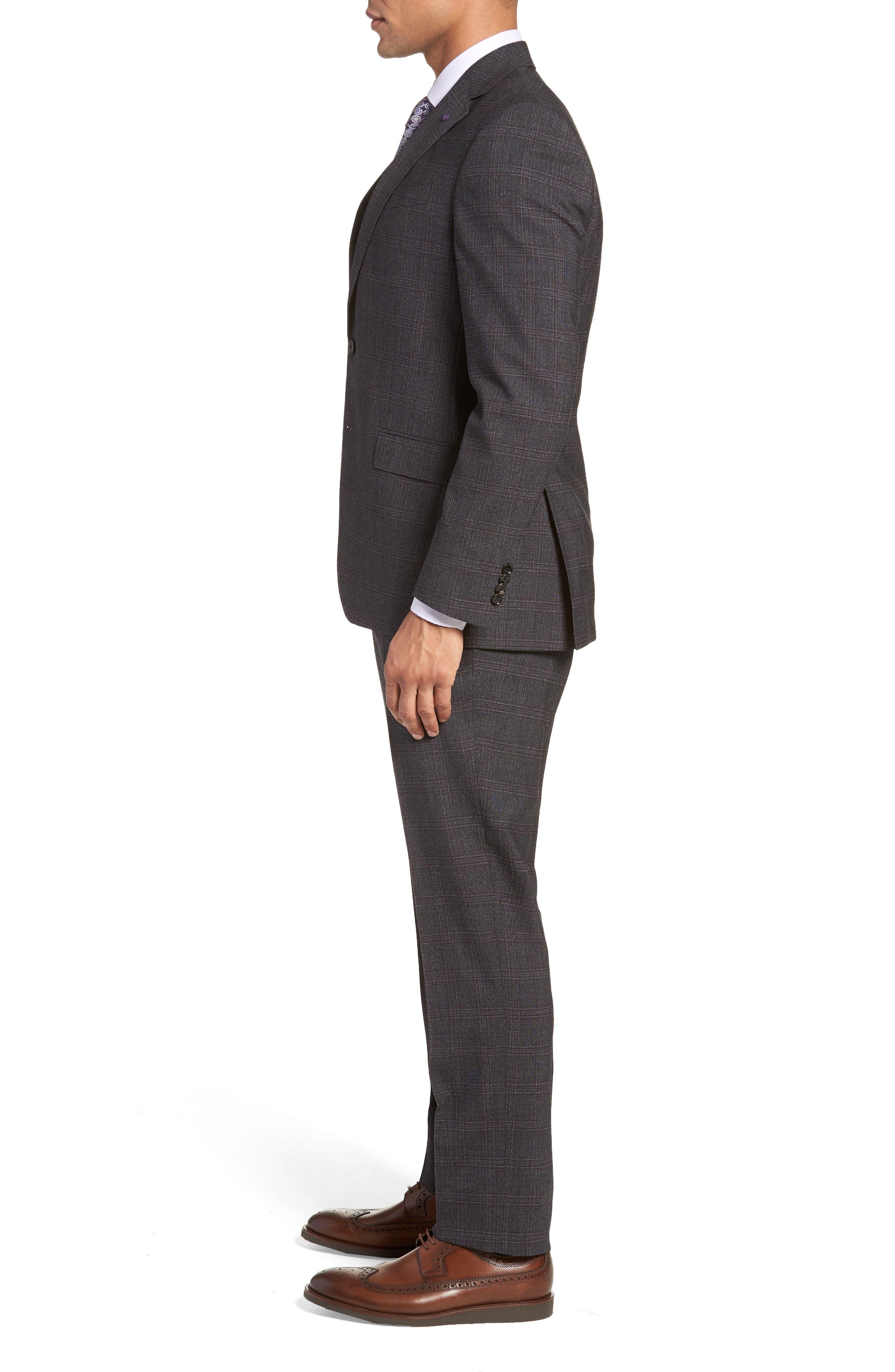 Jay Trim Fit Plaid Wool Suit,                             Alternate thumbnail 3, color,                             CHARCOAL