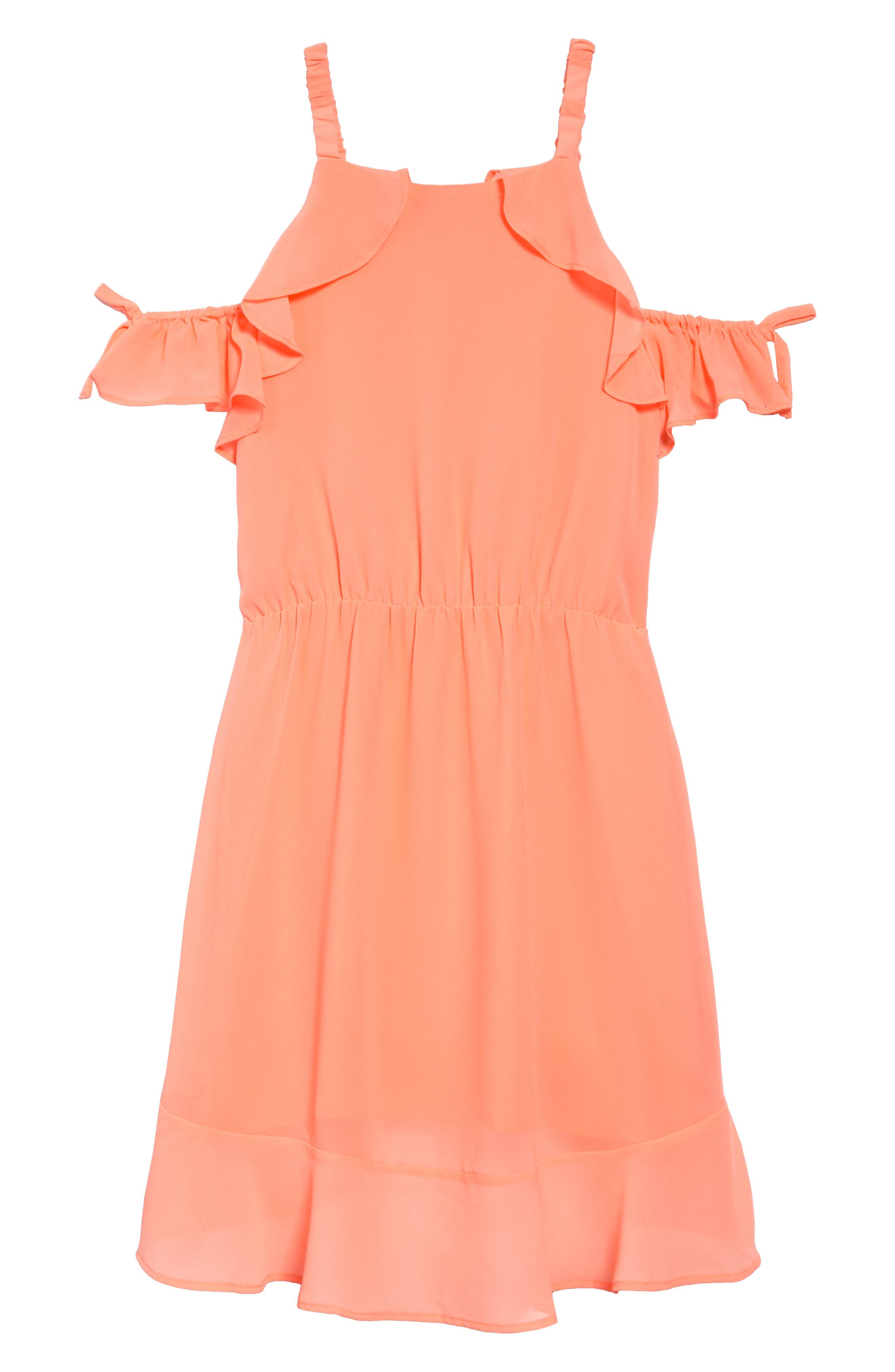 Ruffle Cold Shoulder Dress,                             Alternate thumbnail 4, color,