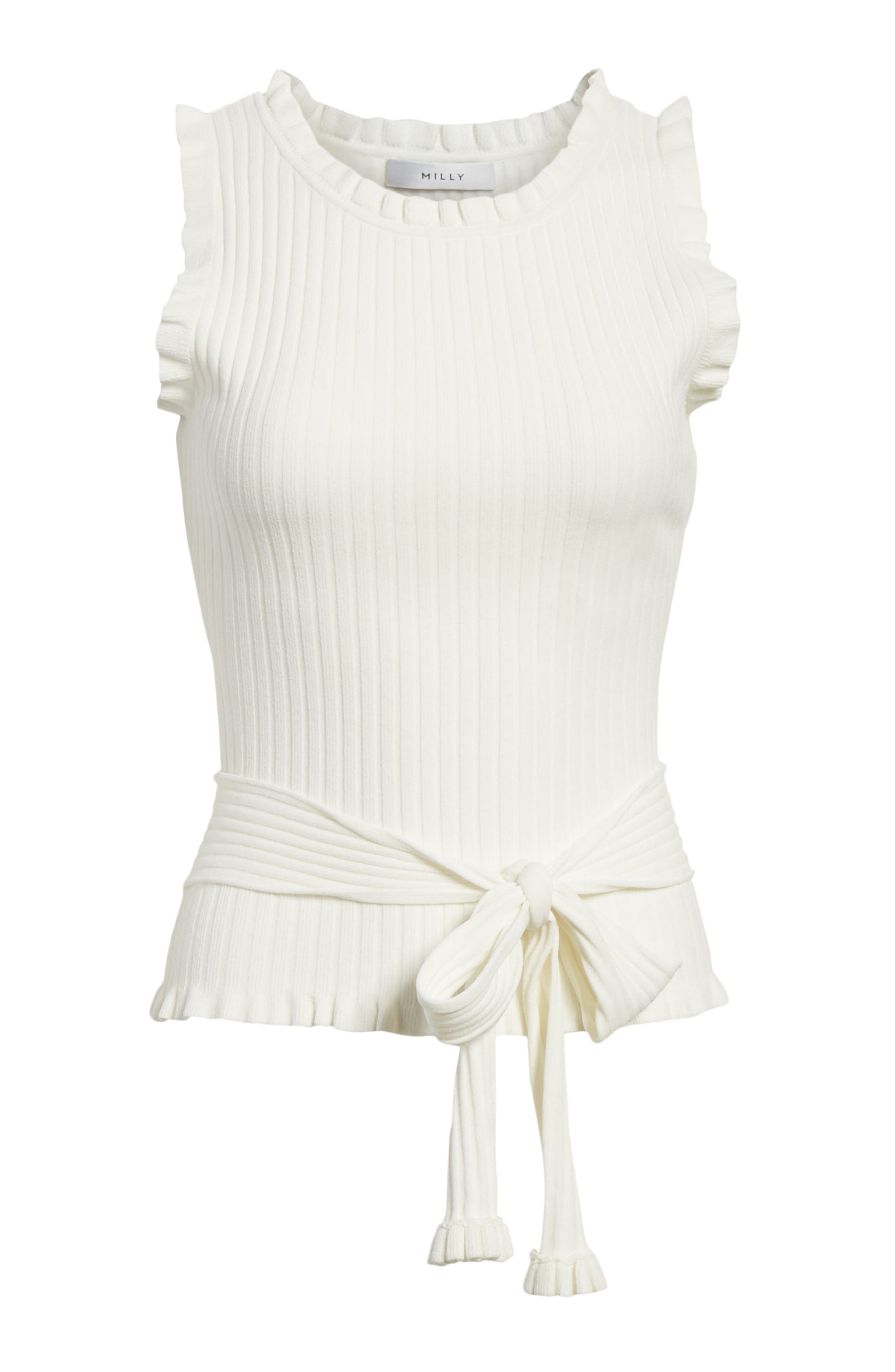 Ruffle Tie Front Shell,                             Alternate thumbnail 6, color,                             150
