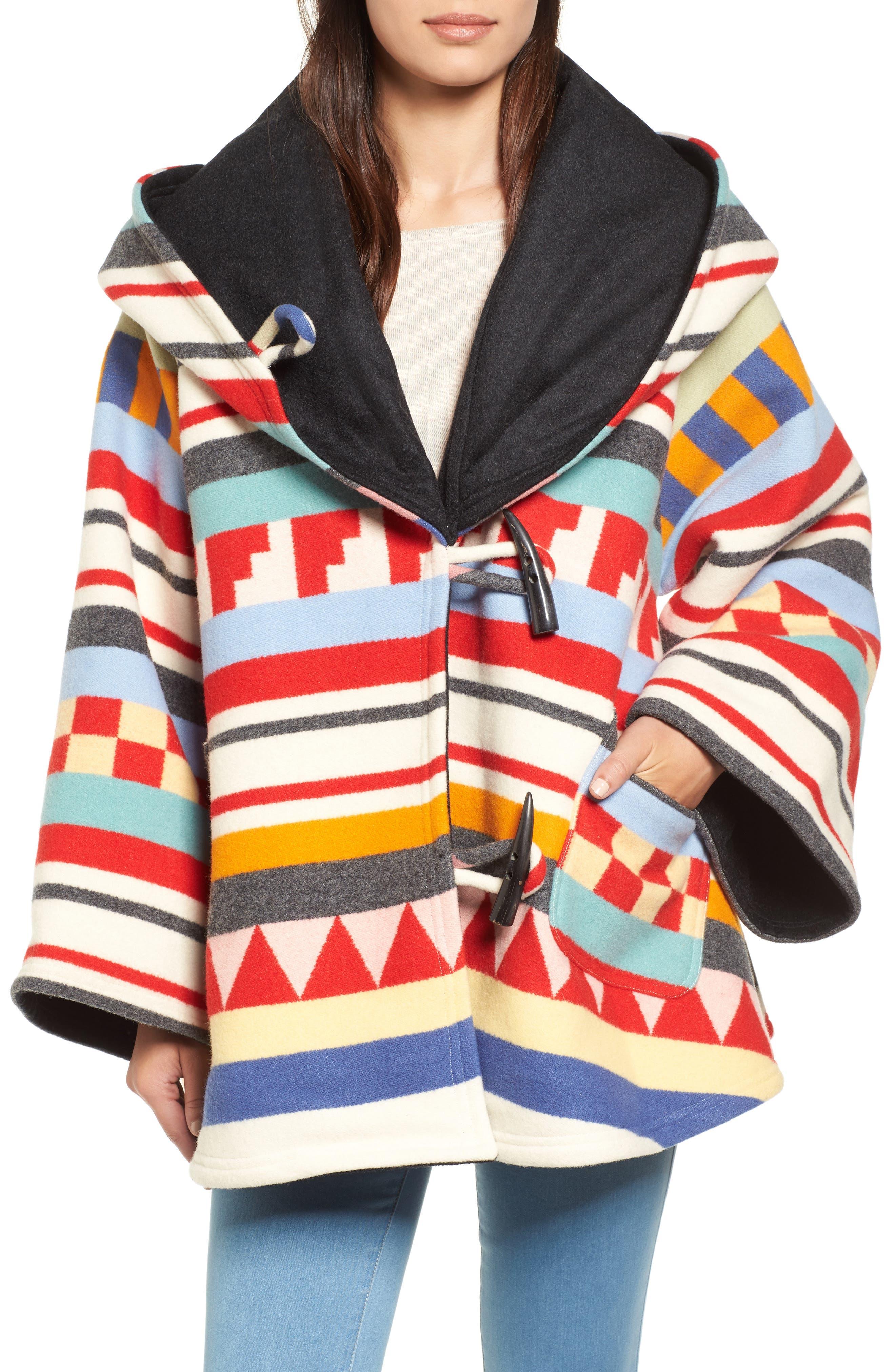 x Pendleton Wool Blend Hooded Cape,                         Main,                         color, WHITE MULTI