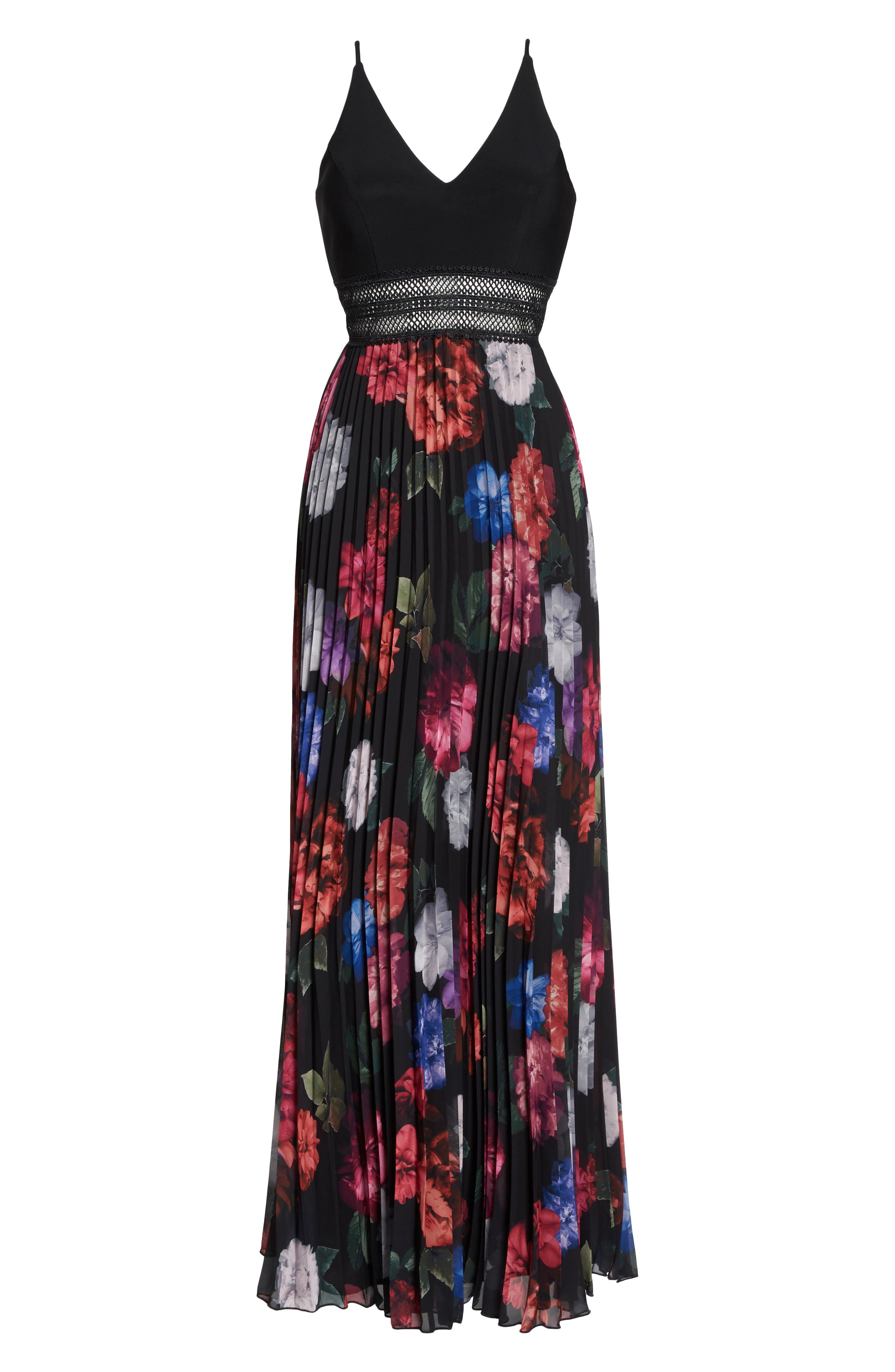 Floral Pleated Gown,                             Alternate thumbnail 6, color,                             001
