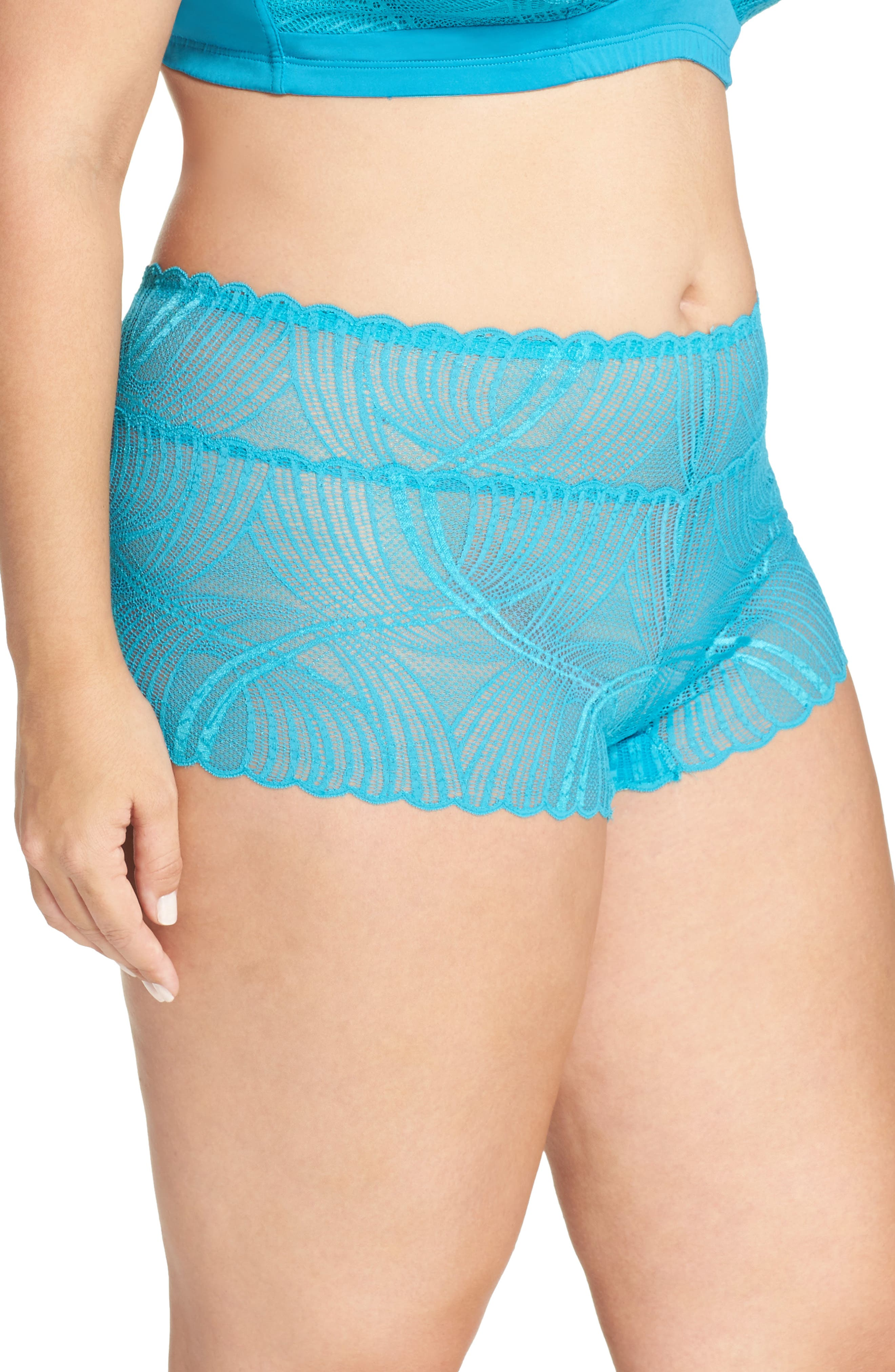 Minoa Naughtie Open Gusset Boyshorts,                             Alternate thumbnail 14, color,