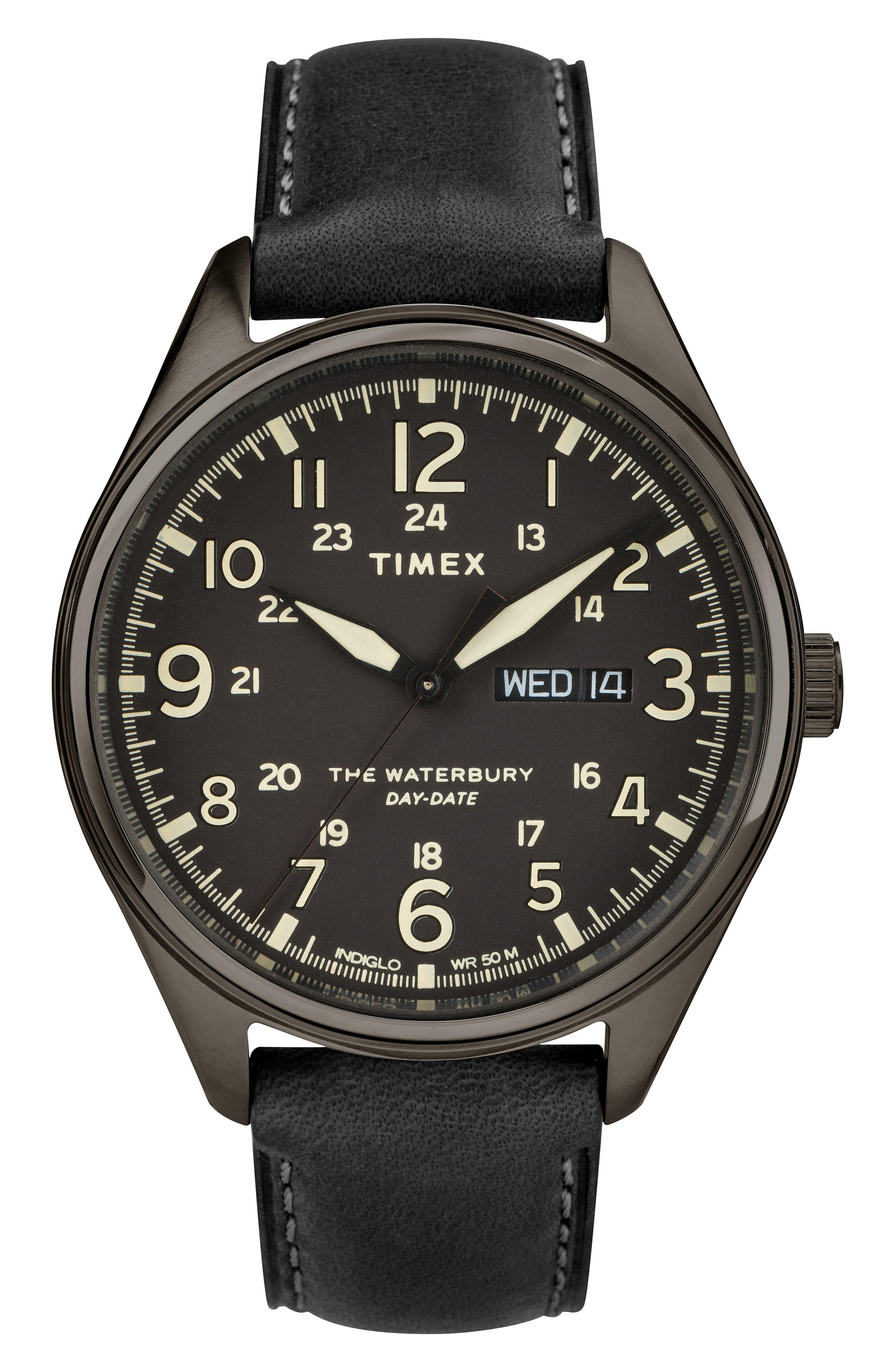 Waterbury Chronograph Bracelet Watch, 42mm, Main, color, BLACK/ GUNMETAL