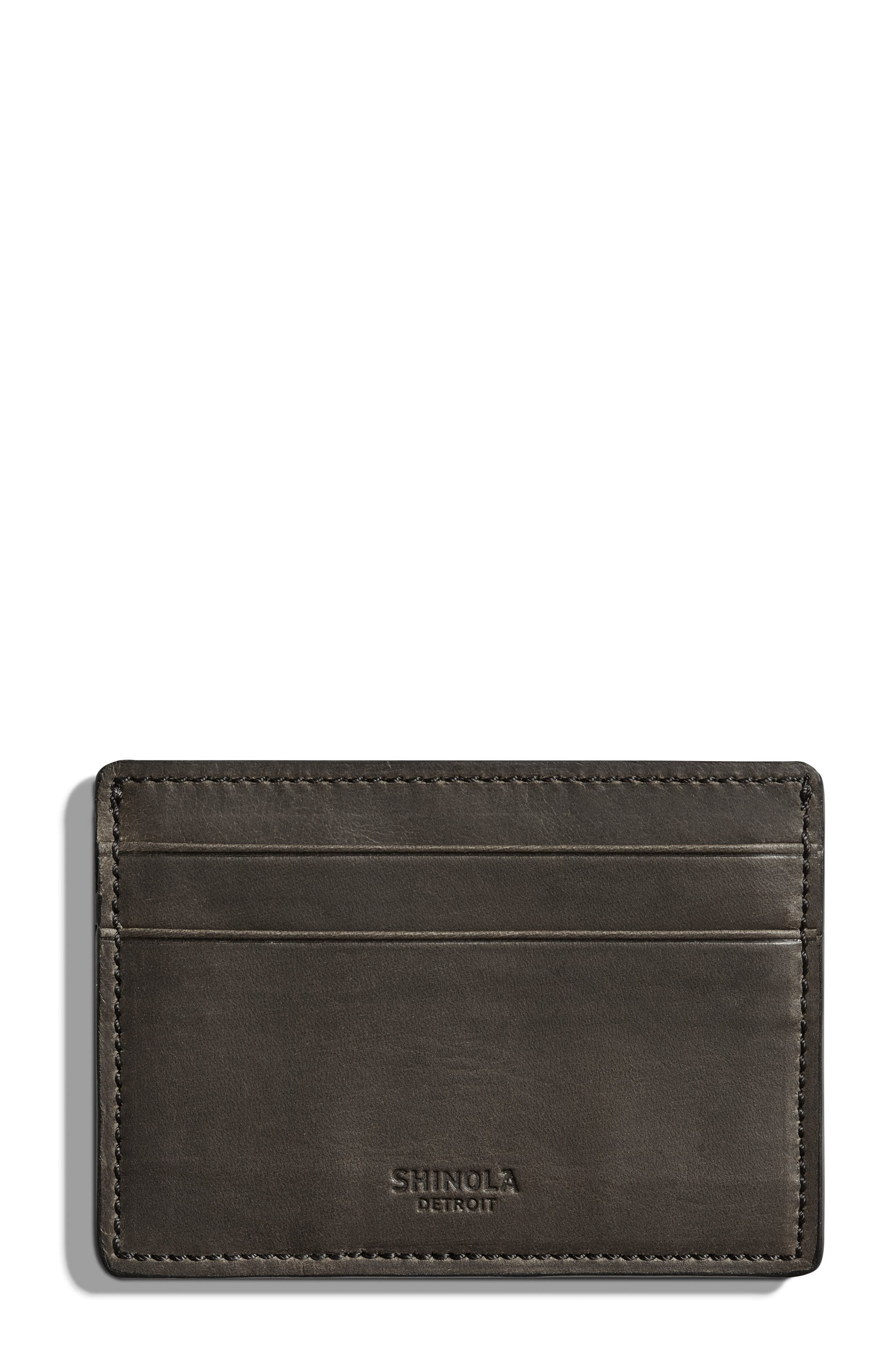 Leather Card Case,                         Main,                         color, CHARCOAL